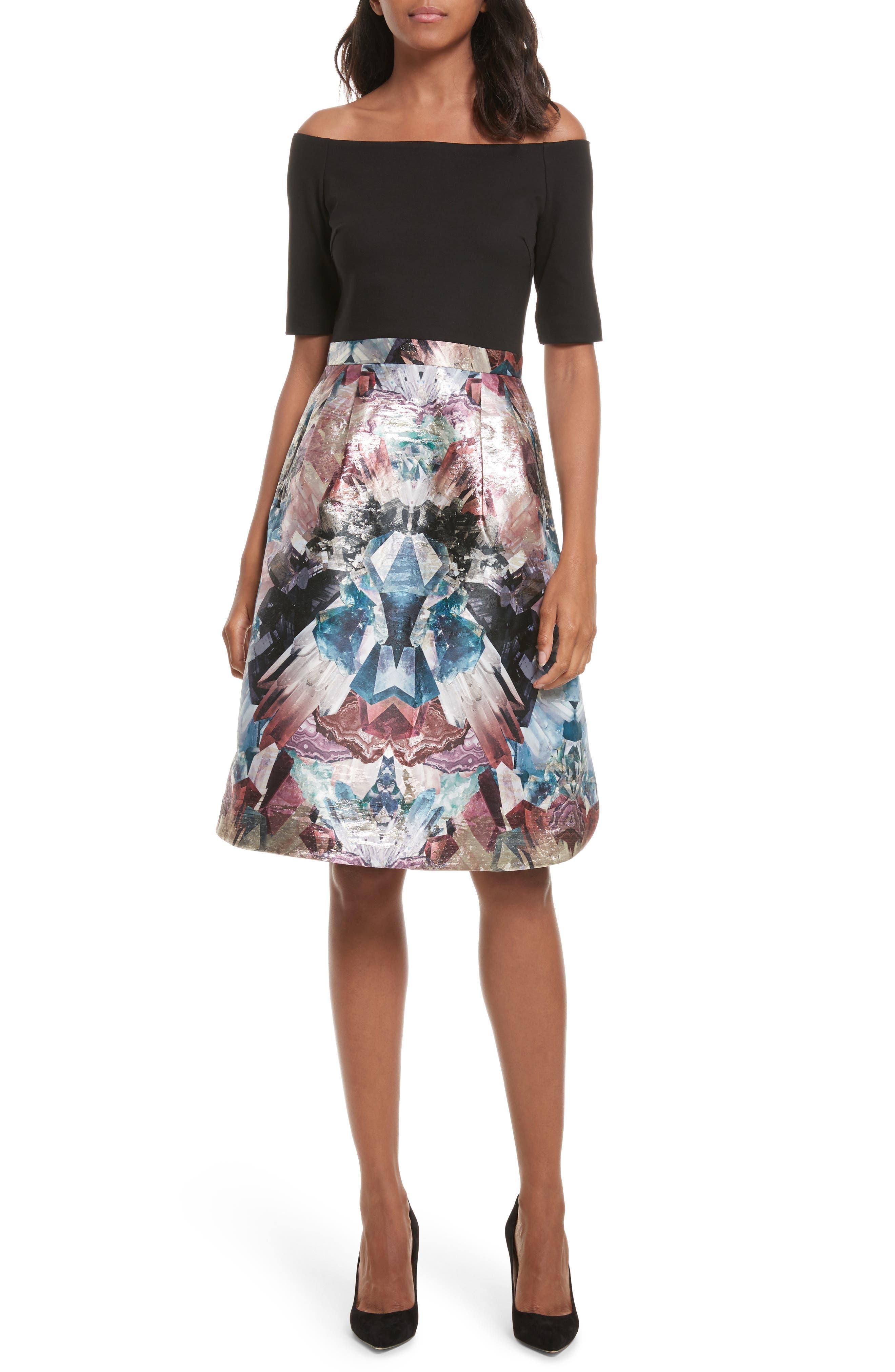 Keris Mirrored Minerals Tulip Fit & Flare Dress, Main, color, 001