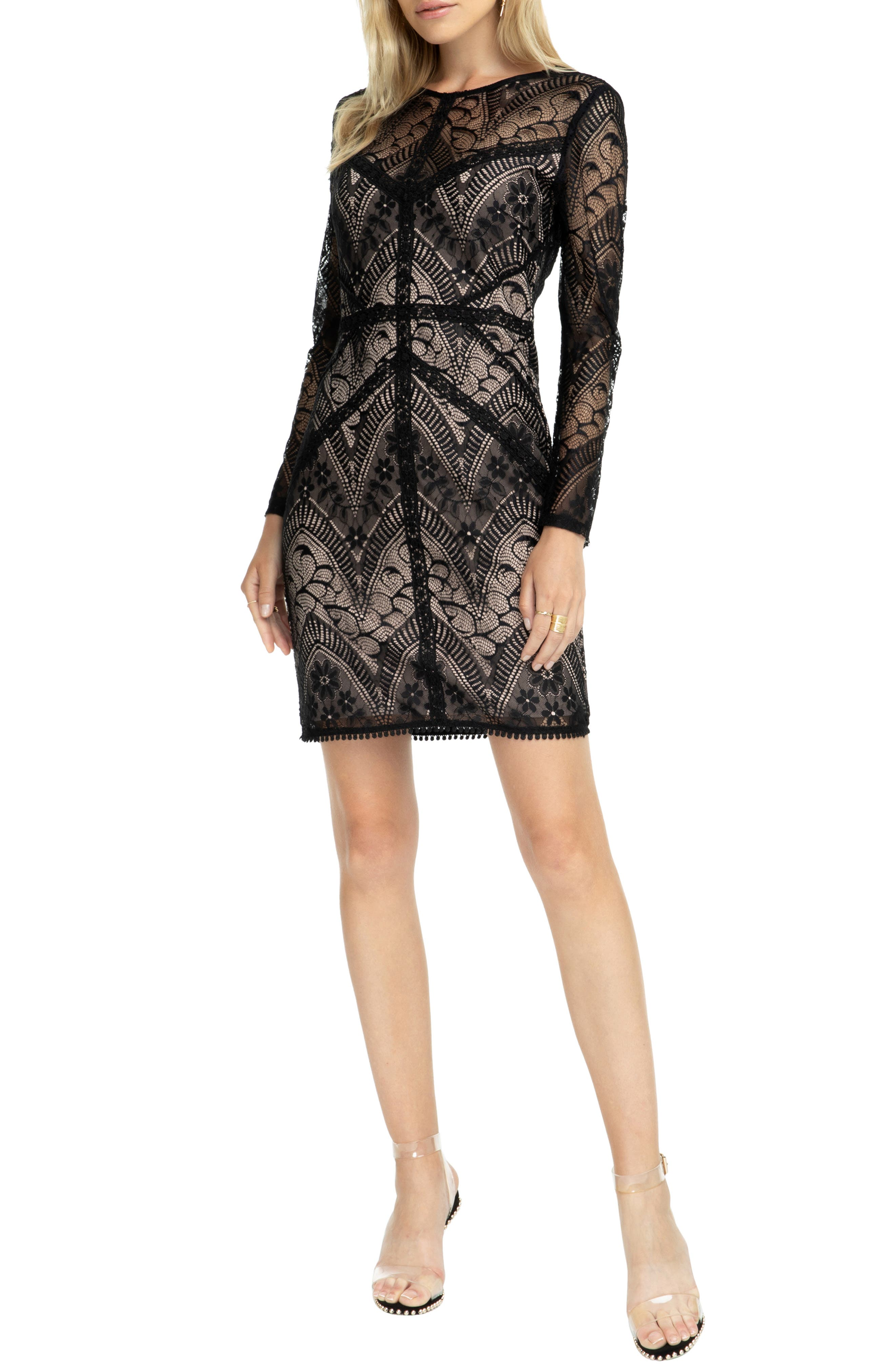 Astr The Label Scooped Back Lace Dress, Black
