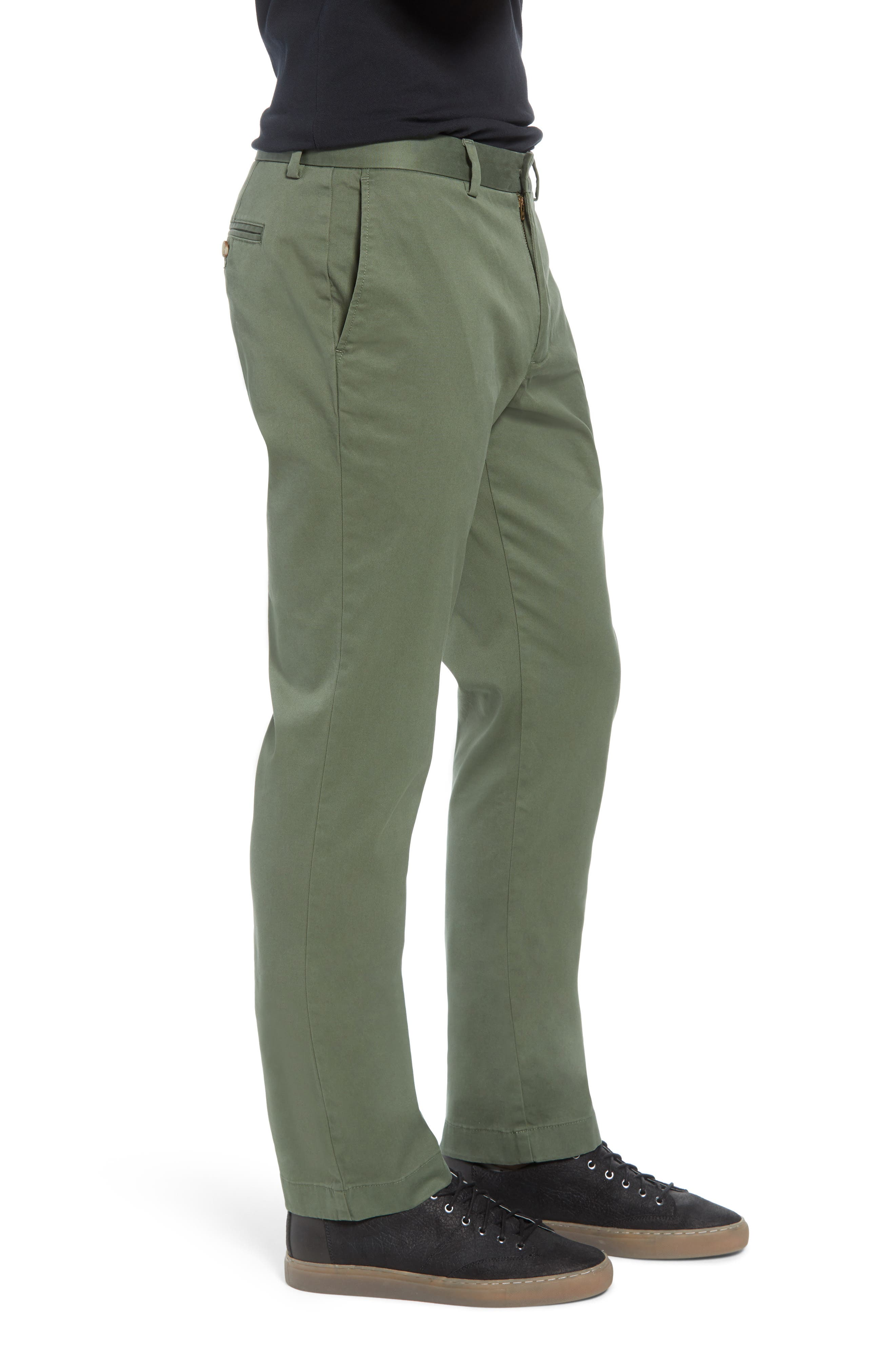Breaker Flat Front Stretch Cotton Pants,                             Alternate thumbnail 3, color,                             CARGO GREEN