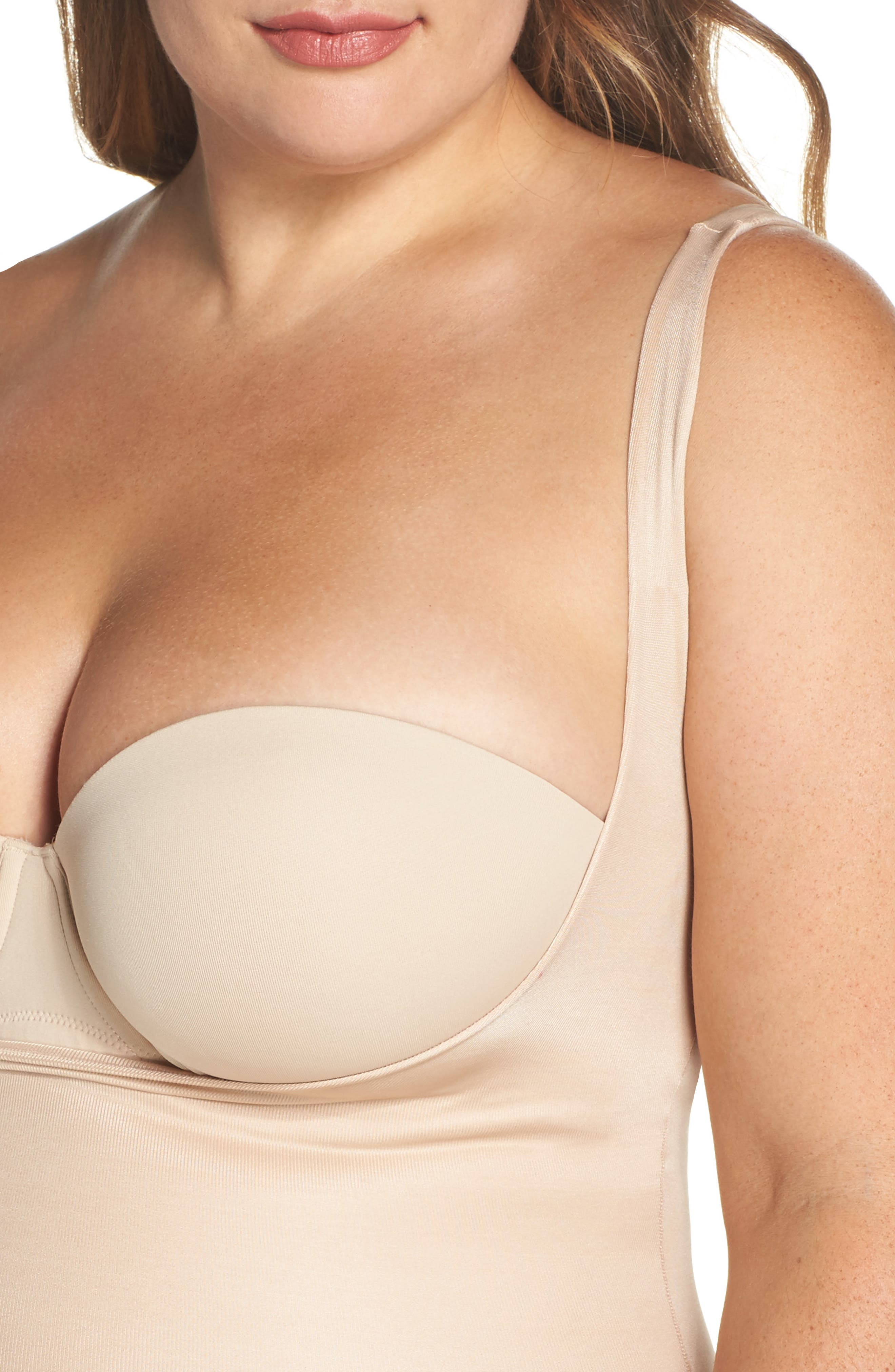 Power Conceal-Her Open Bust Bodysuit,                             Alternate thumbnail 4, color,                             NATURAL GLAM
