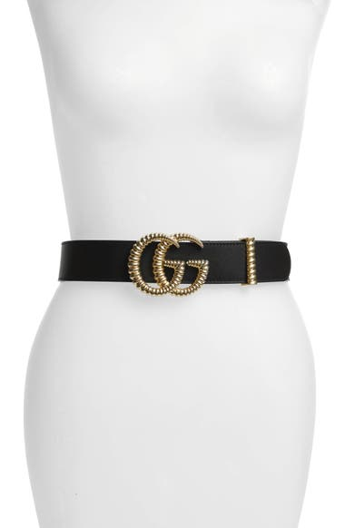 517eab389e0 Gucci Textured GG Logo Leather Belt