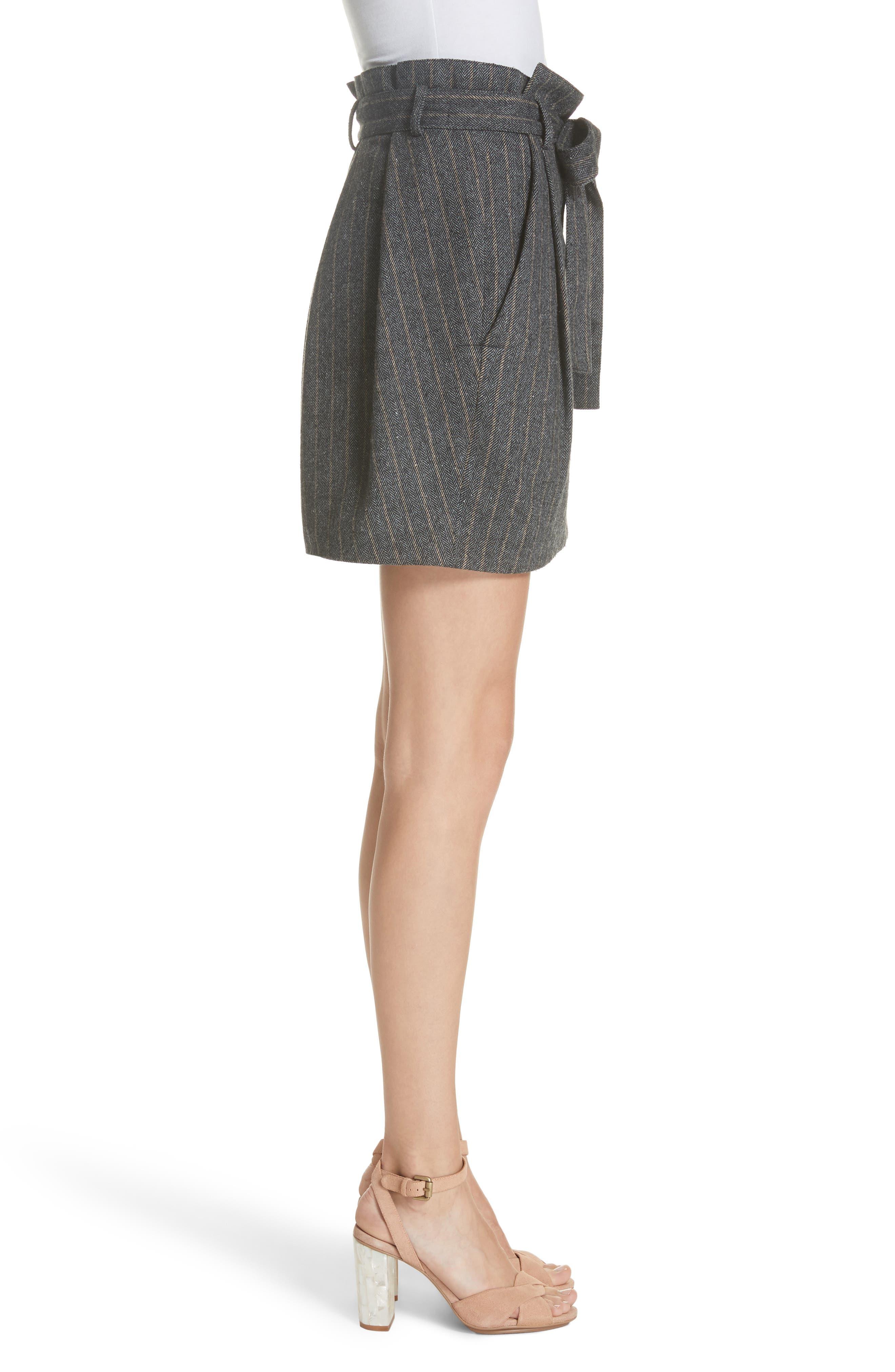 Leo Paperbag Waist Wool & Silk Blend Skirt,                             Alternate thumbnail 3, color,                             ASH