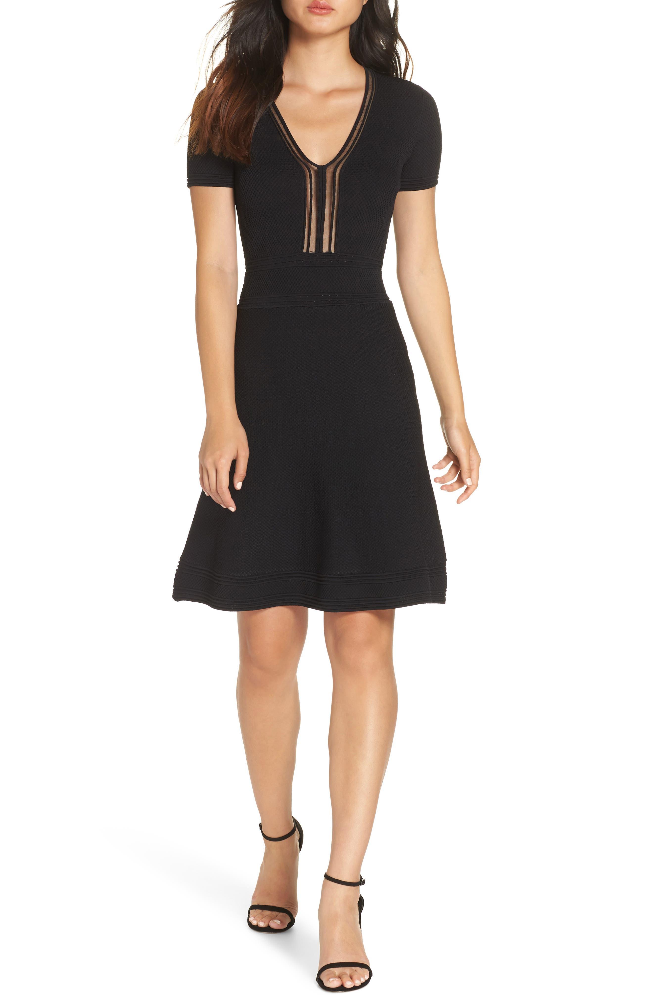 Ellie Knits V-Neck Fit & Flare Dress,                             Main thumbnail 1, color,                             BLACK
