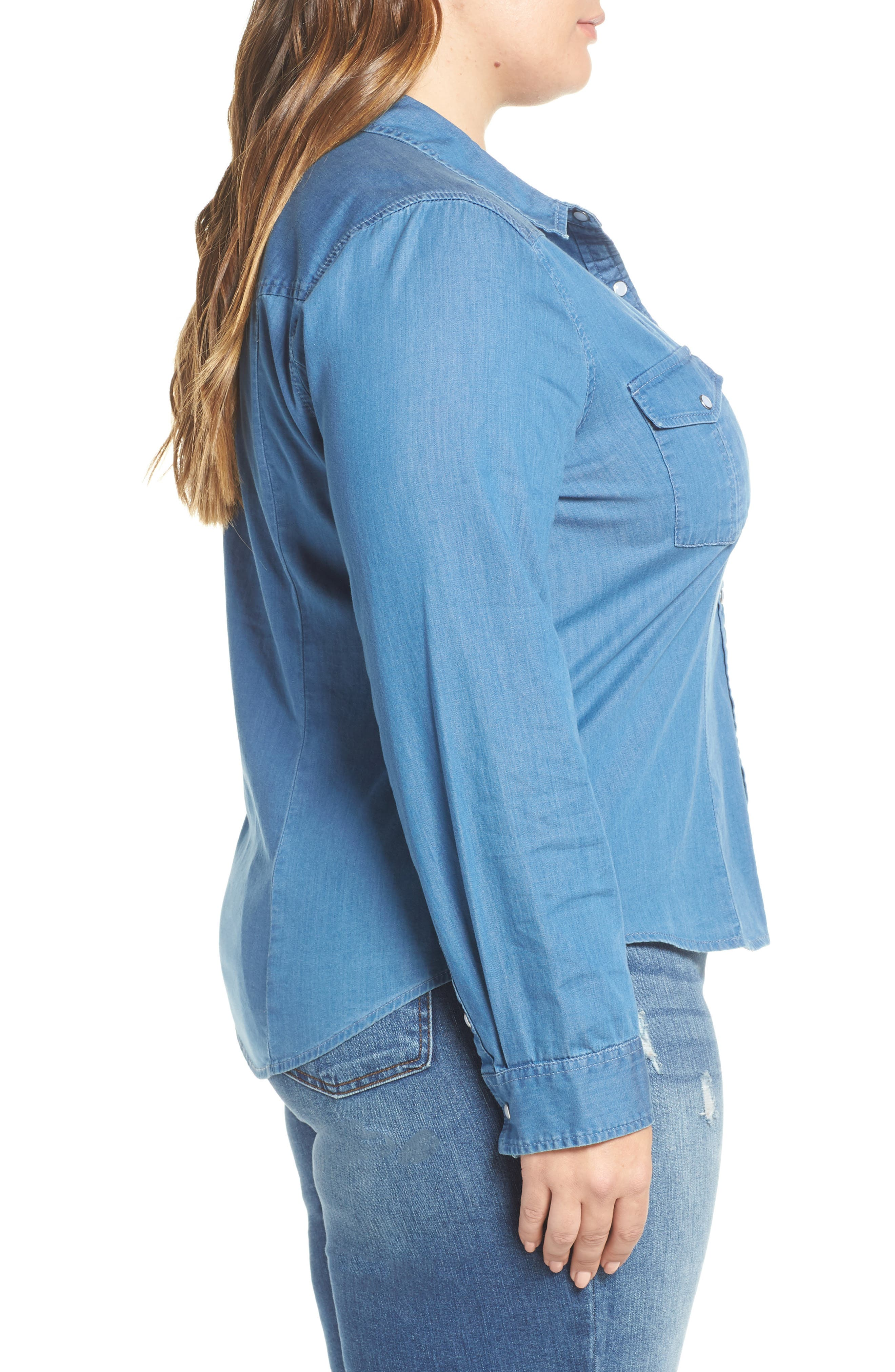 Fitted Chambray Shirt,                             Alternate thumbnail 9, color,                             ROBIN INDIGO