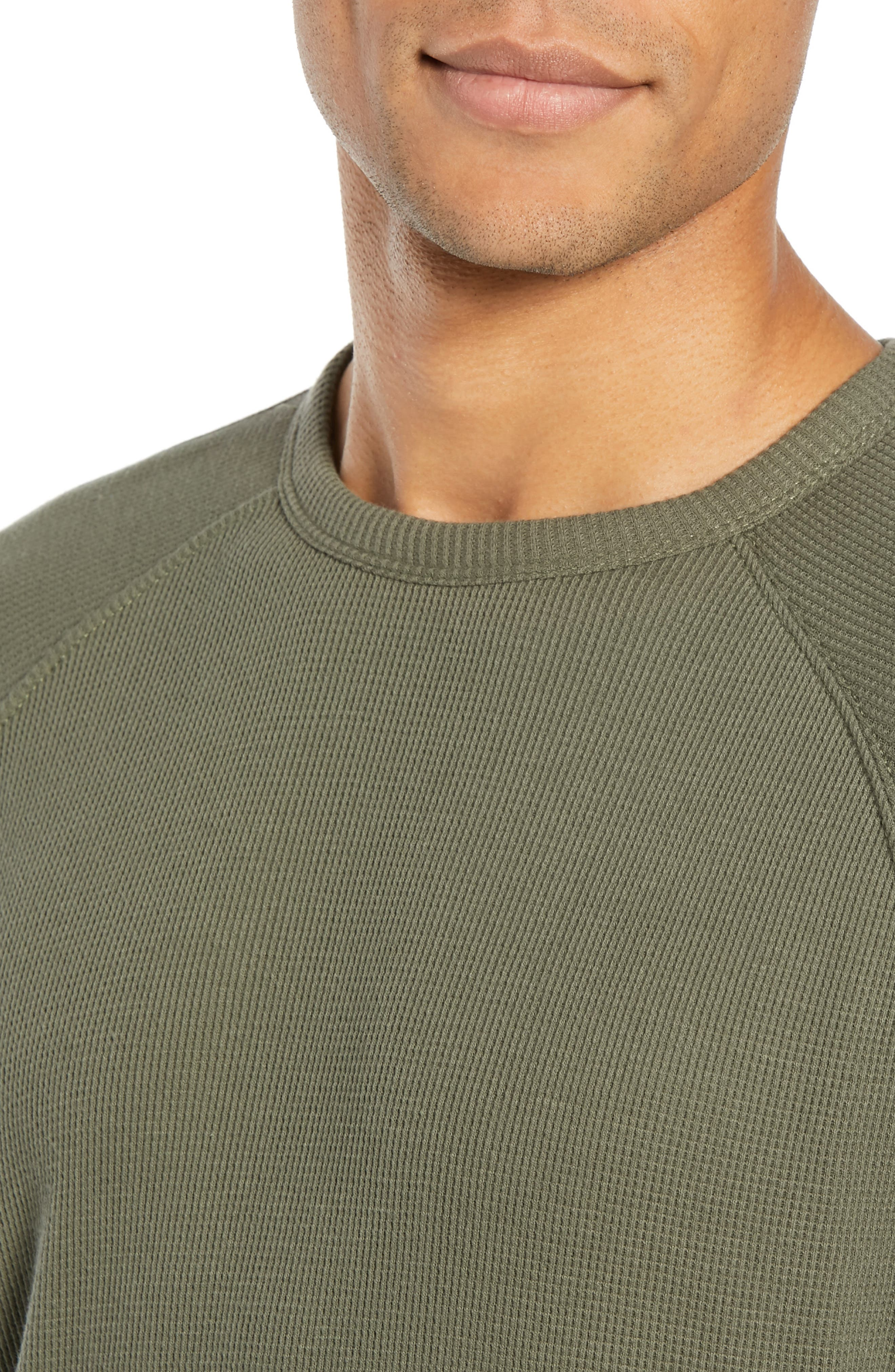 Waffle Knit Pullover,                             Alternate thumbnail 4, color,                             INFANTRY GREEN