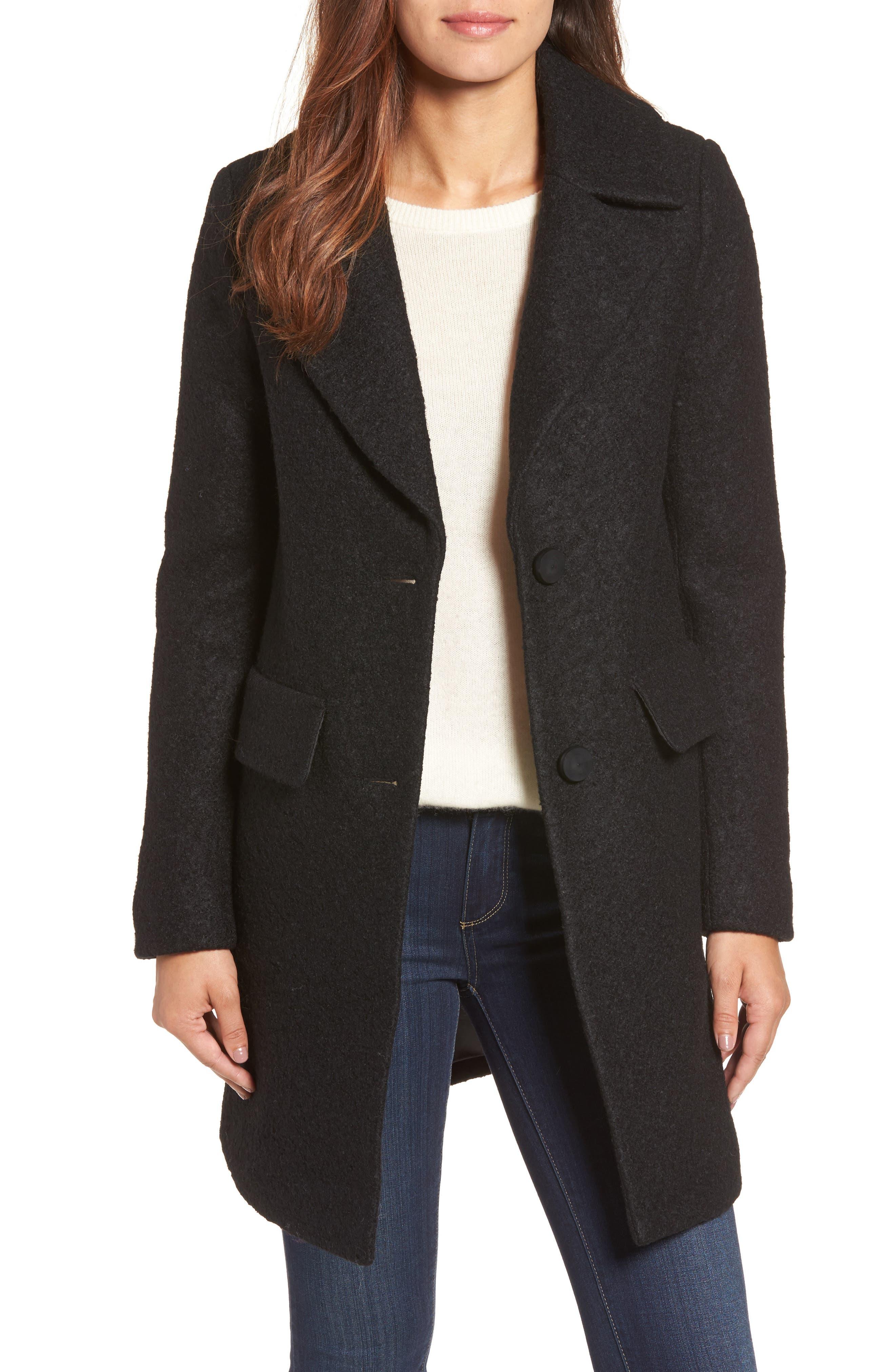Wool Blend Bouclé Coat,                         Main,                         color, BLACK