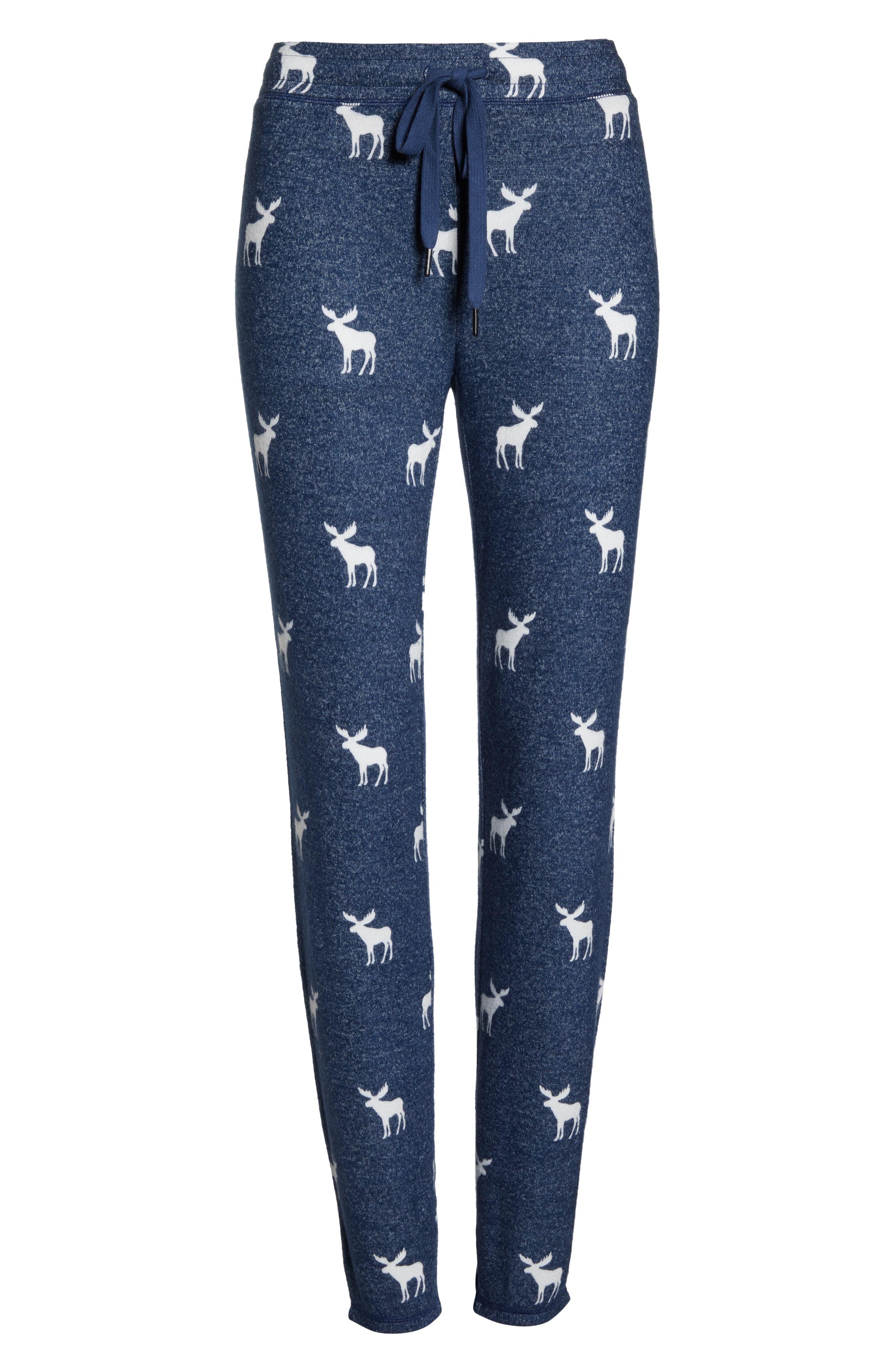 Moose Print Banded Pajama Pants,                             Alternate thumbnail 6, color,                             410