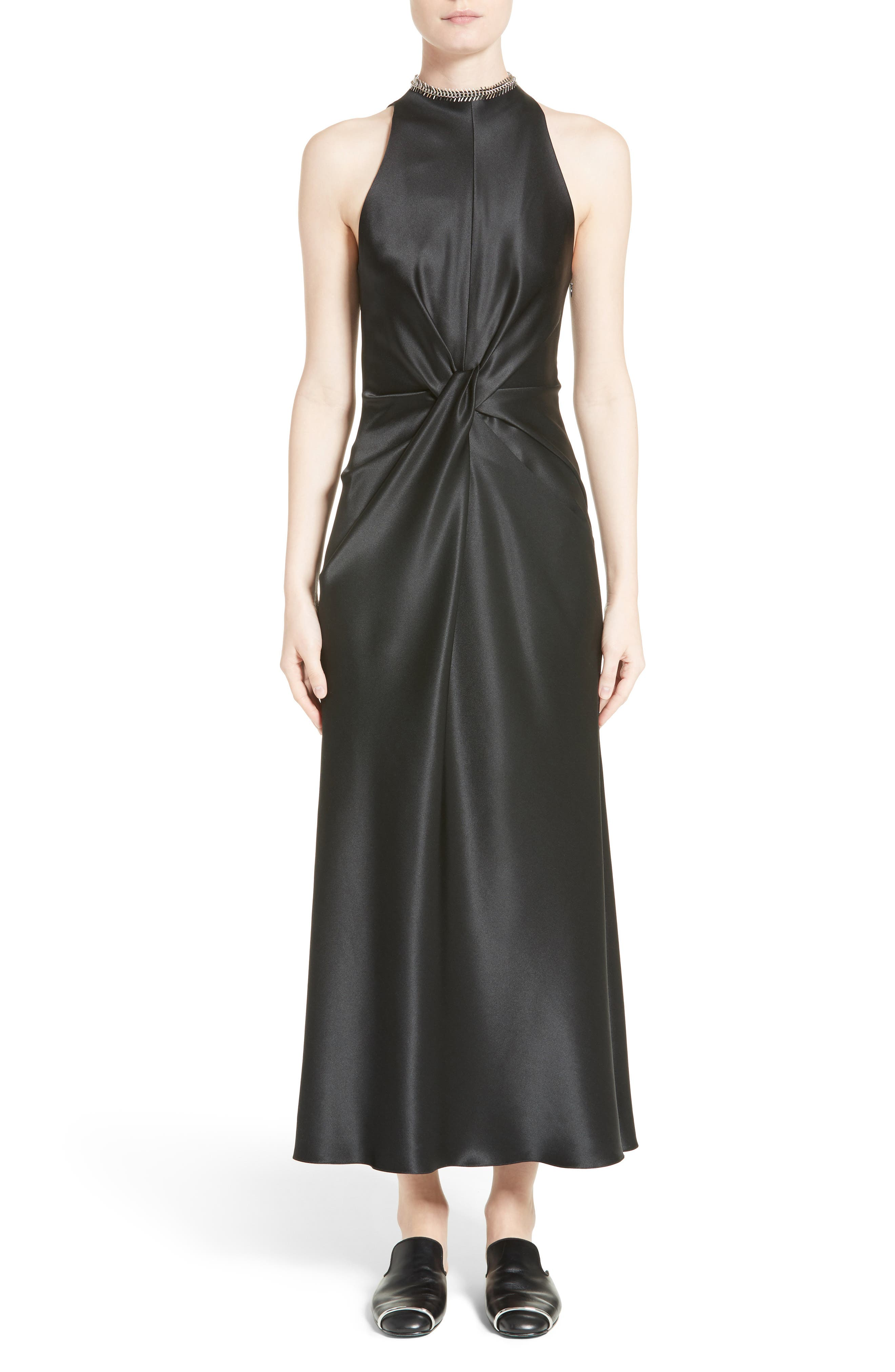 Fishbone Necklace Silk Satin Dress,                             Main thumbnail 1, color,                             001