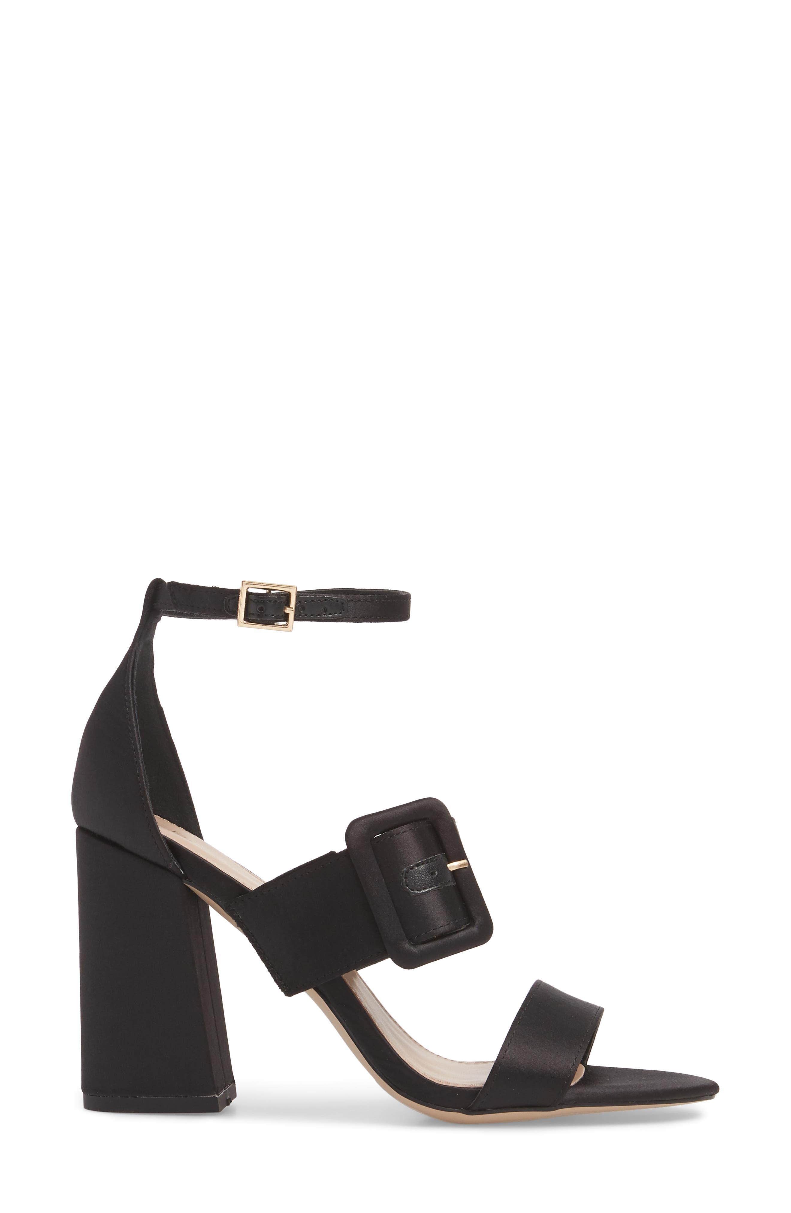Raelynn Ankle Strap Sandal,                             Alternate thumbnail 3, color,                             BLACK SATIN