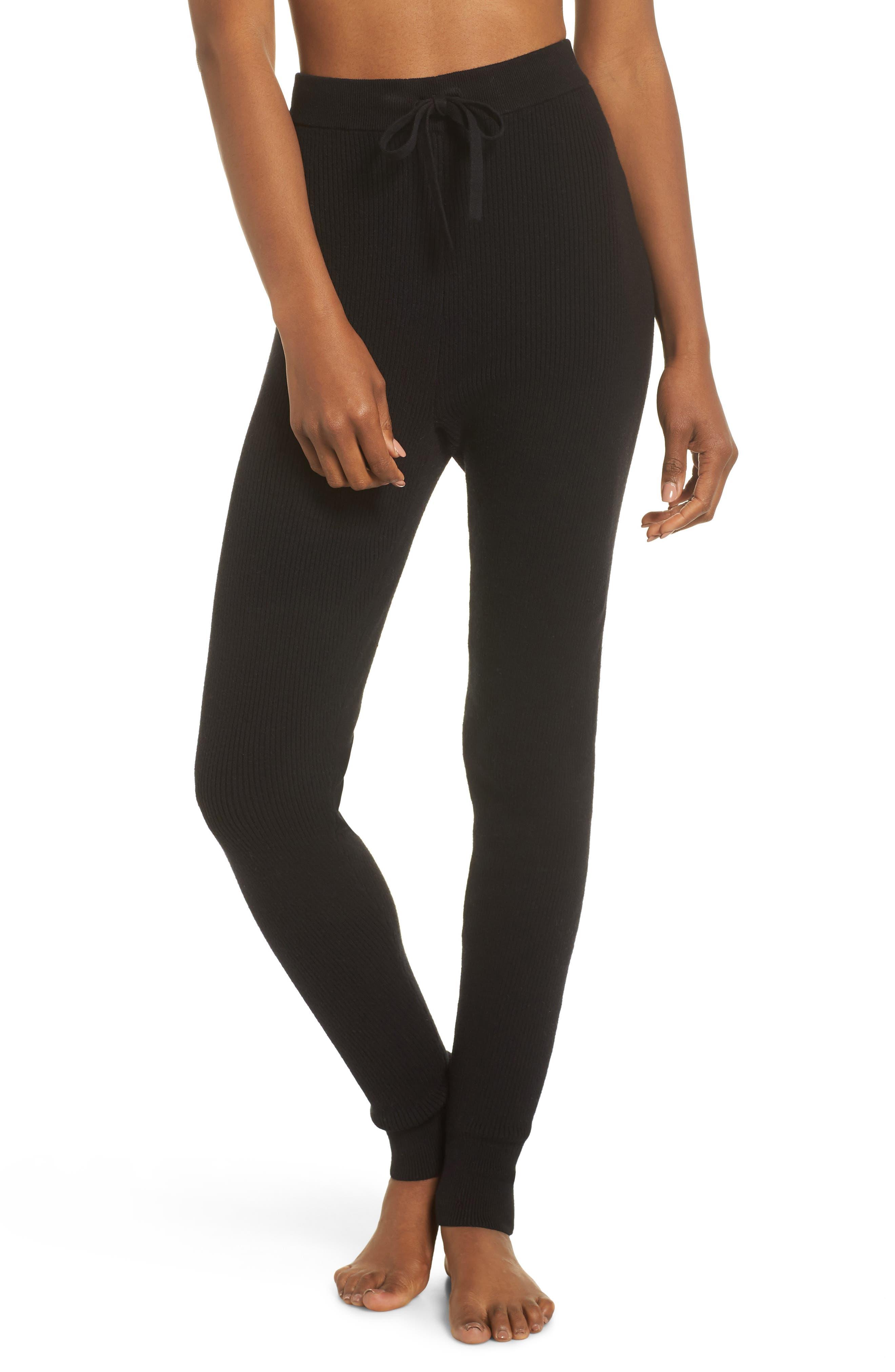 Ribbed Sweater Leggings, Main, color, BLACK