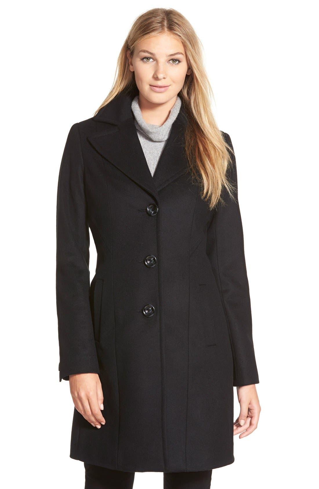 KRISTEN BLAKE Single Breasted Wool Blend Coat, Main, color, 001