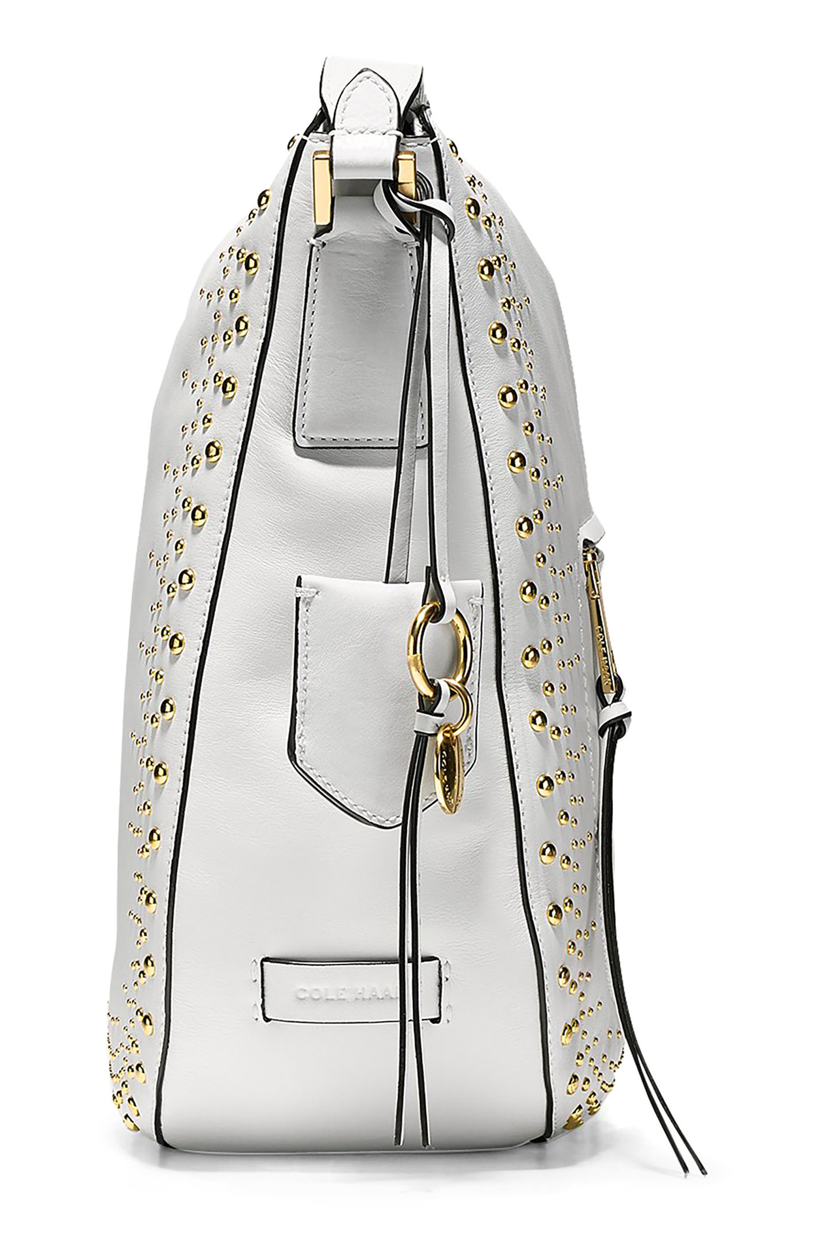 Marli Studded Leather Bucket Hobo,                             Alternate thumbnail 4, color,