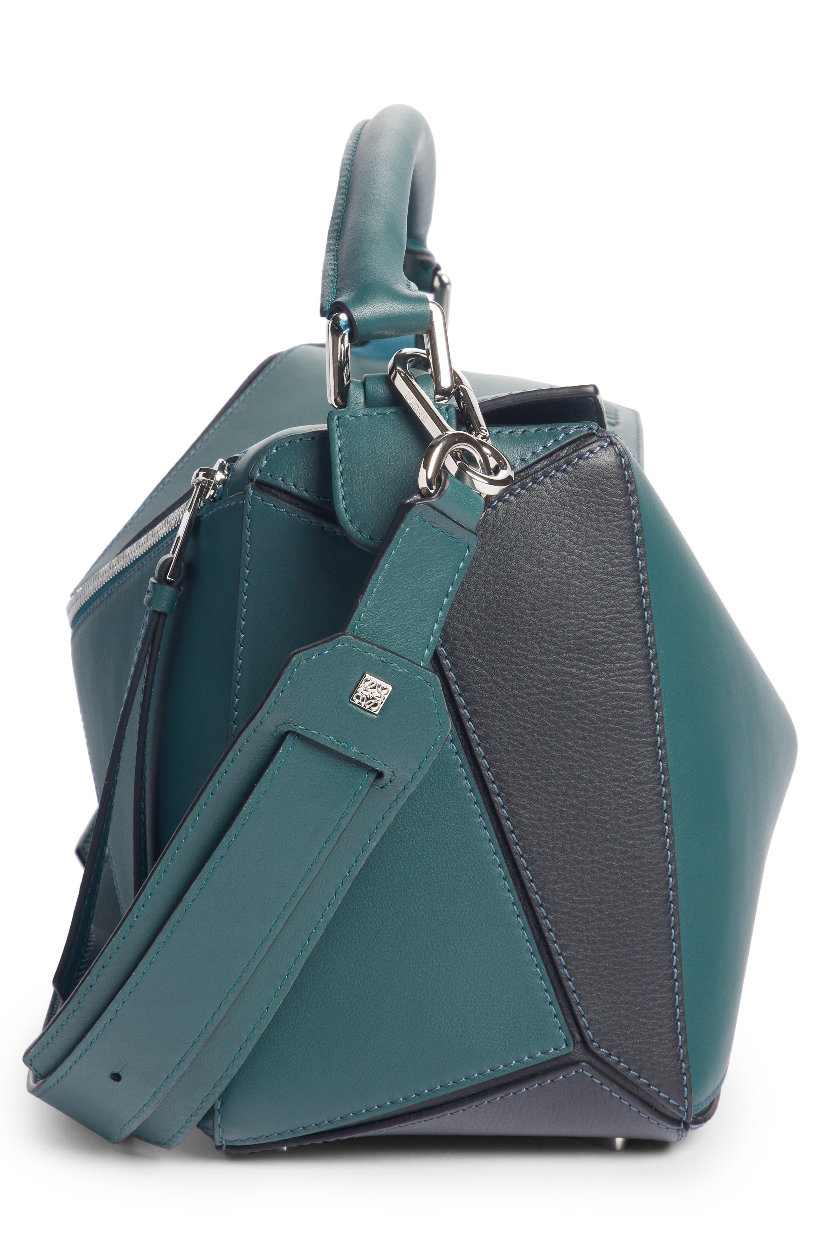 Medium Puzzle Calfskin Leather Shoulder Bag,                             Alternate thumbnail 4, color,                             PETROLEUM BLUE/ CYPRESS