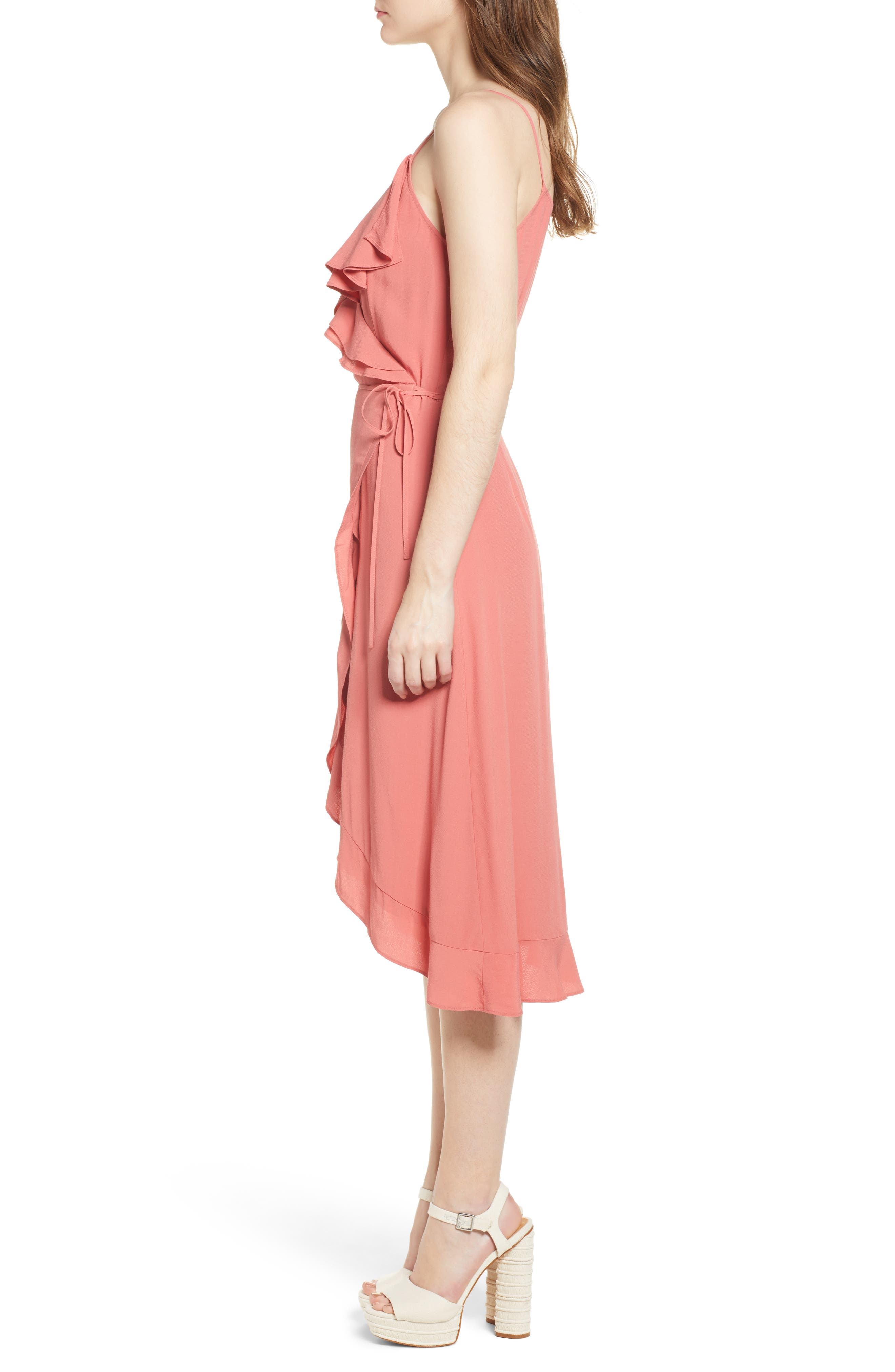 Flounce Wrap Midi Dress,                             Alternate thumbnail 11, color,