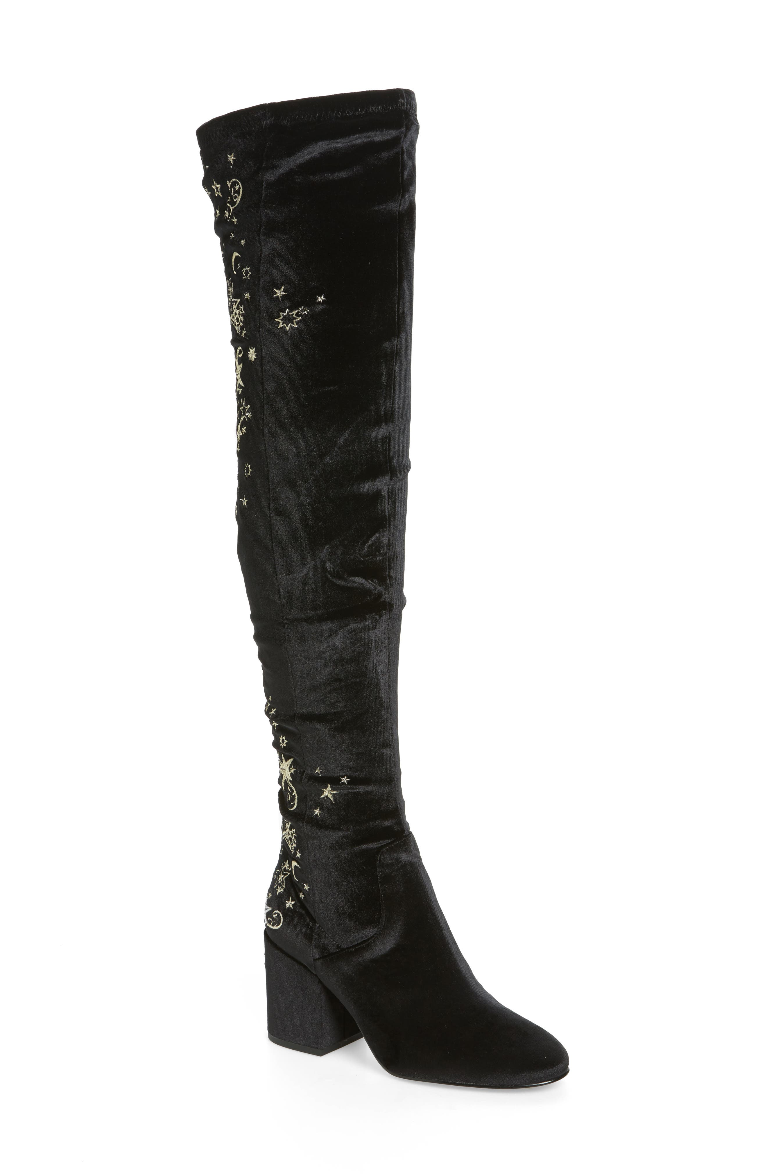 Eros Embroidered Velvet Over the Knee Boot,                             Main thumbnail 1, color,