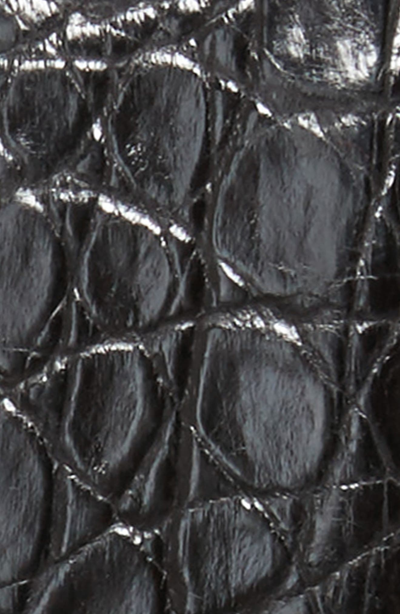 Crocodile Leather Belt,                             Alternate thumbnail 2, color,                             BLACK