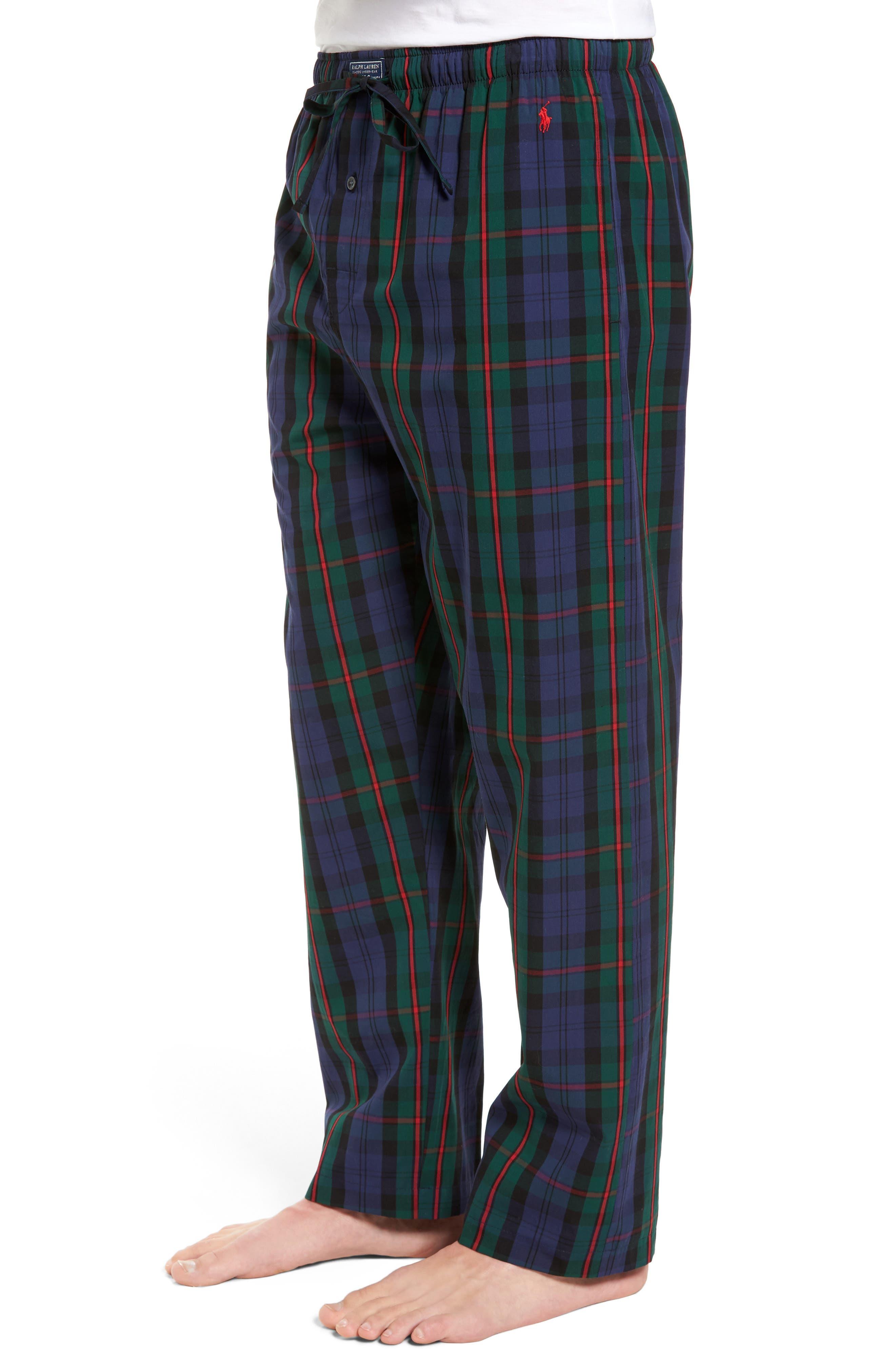 Plaid Cotton Lounge Pants,                             Alternate thumbnail 3, color,                             409