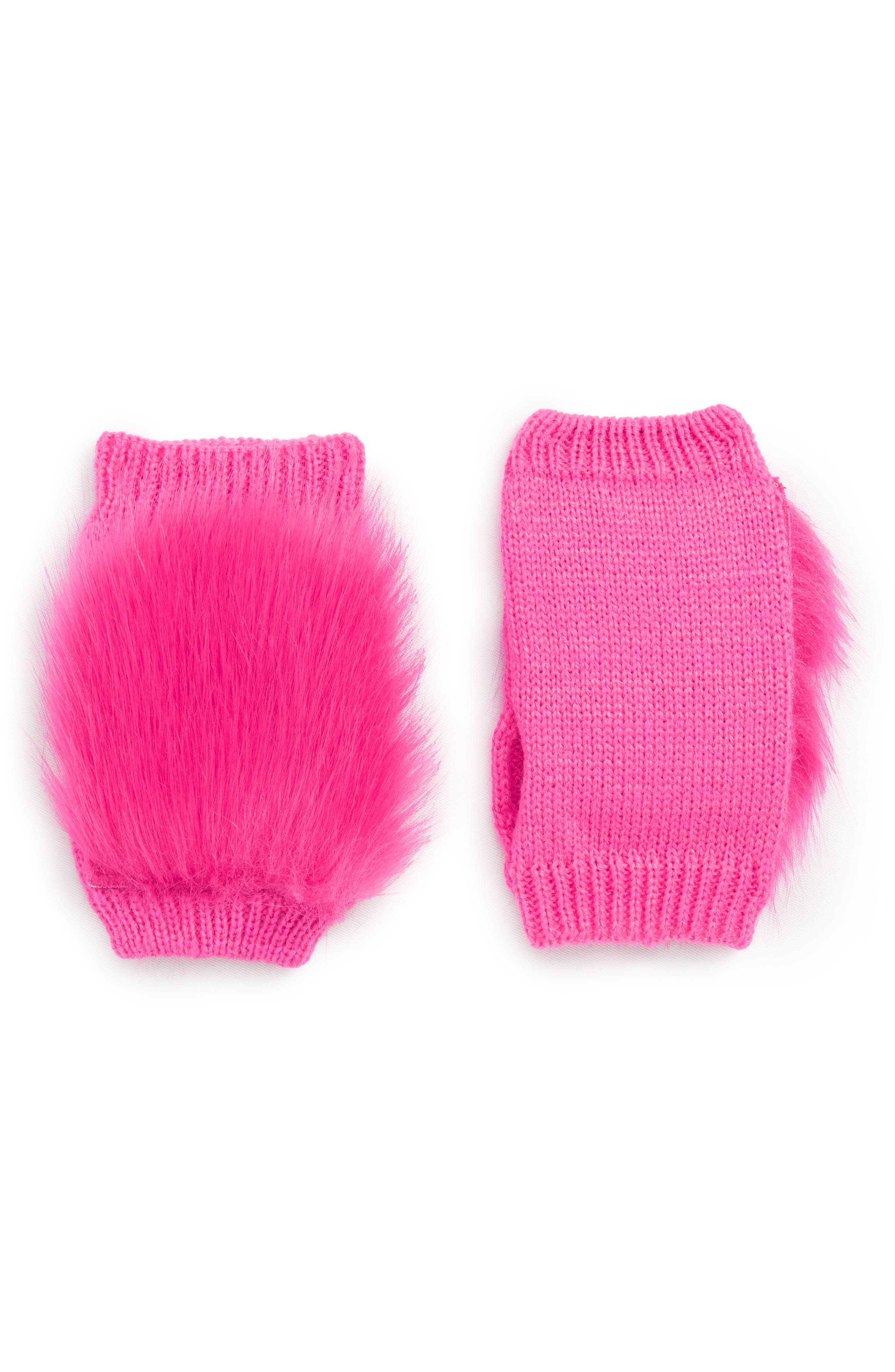 Faux Fur Hand Warmers,                         Main,                         color, PINK STORM
