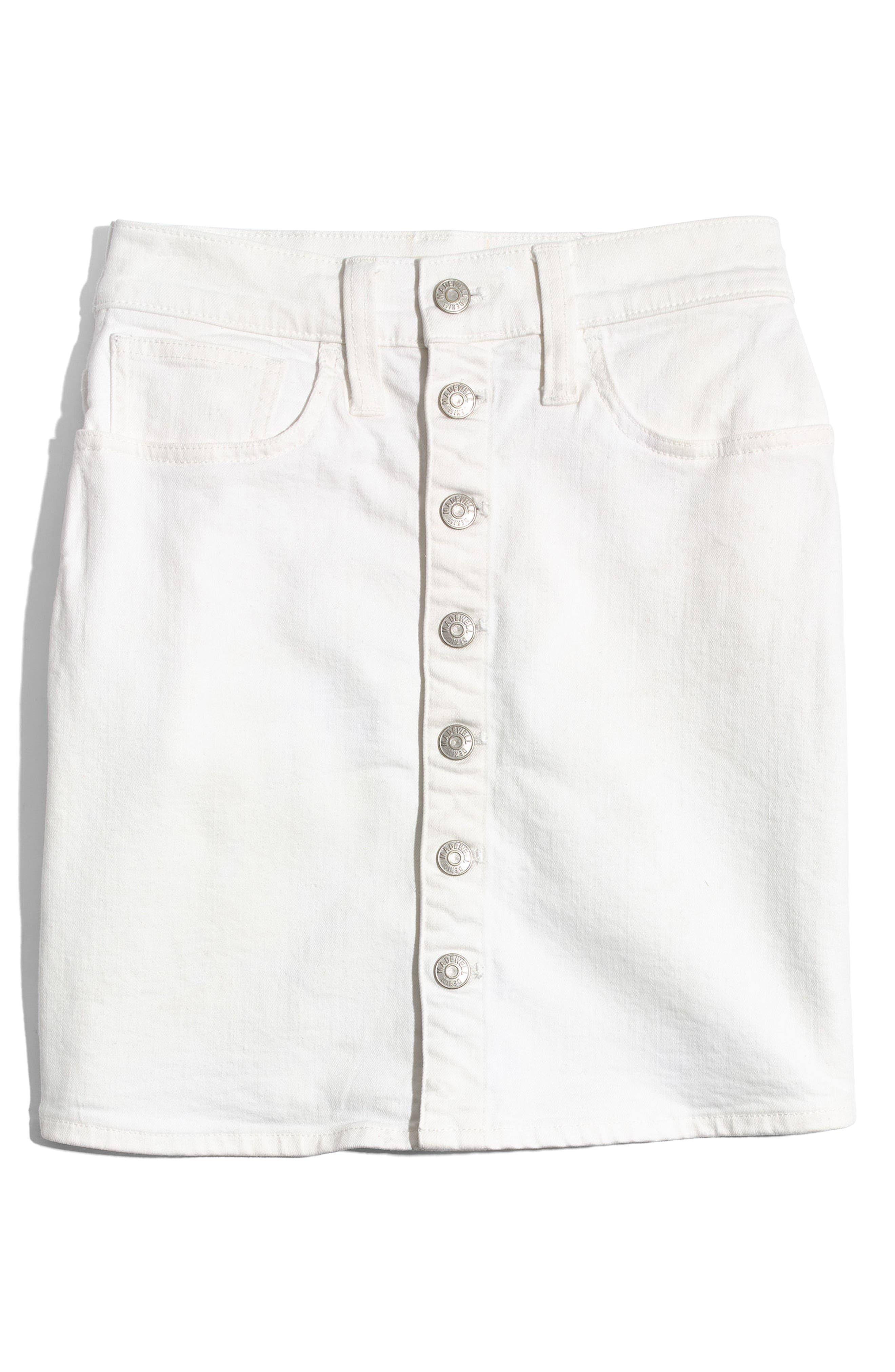 Button Front Straight Denim Skirt,                             Alternate thumbnail 3, color,
