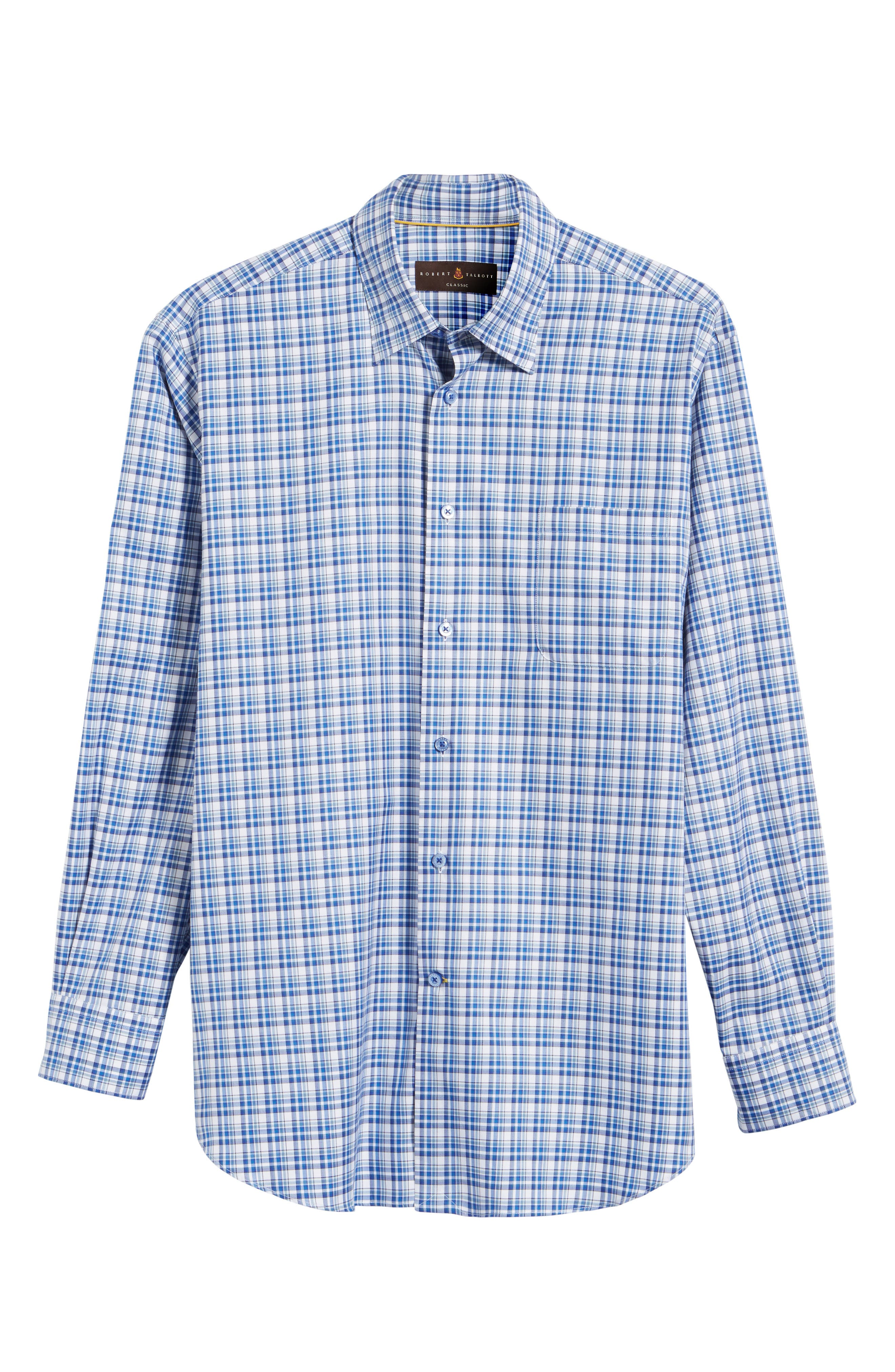 Anderson Classic Fit Plaid Micro Twill Sport Shirt,                             Alternate thumbnail 6, color,                             417