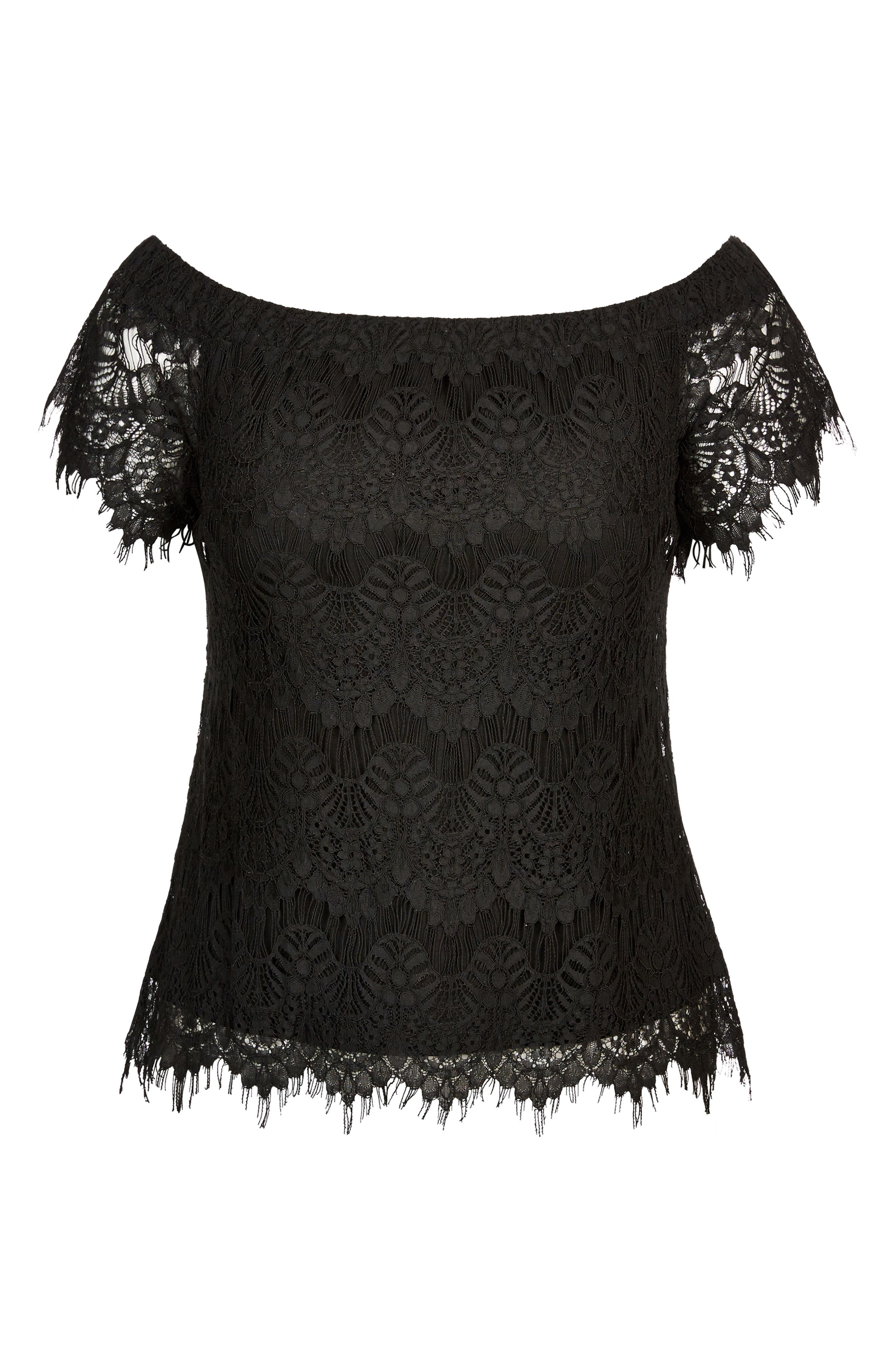 CITY CHIC,                             Lacy Off the Shoulder Top,                             Alternate thumbnail 3, color,                             001