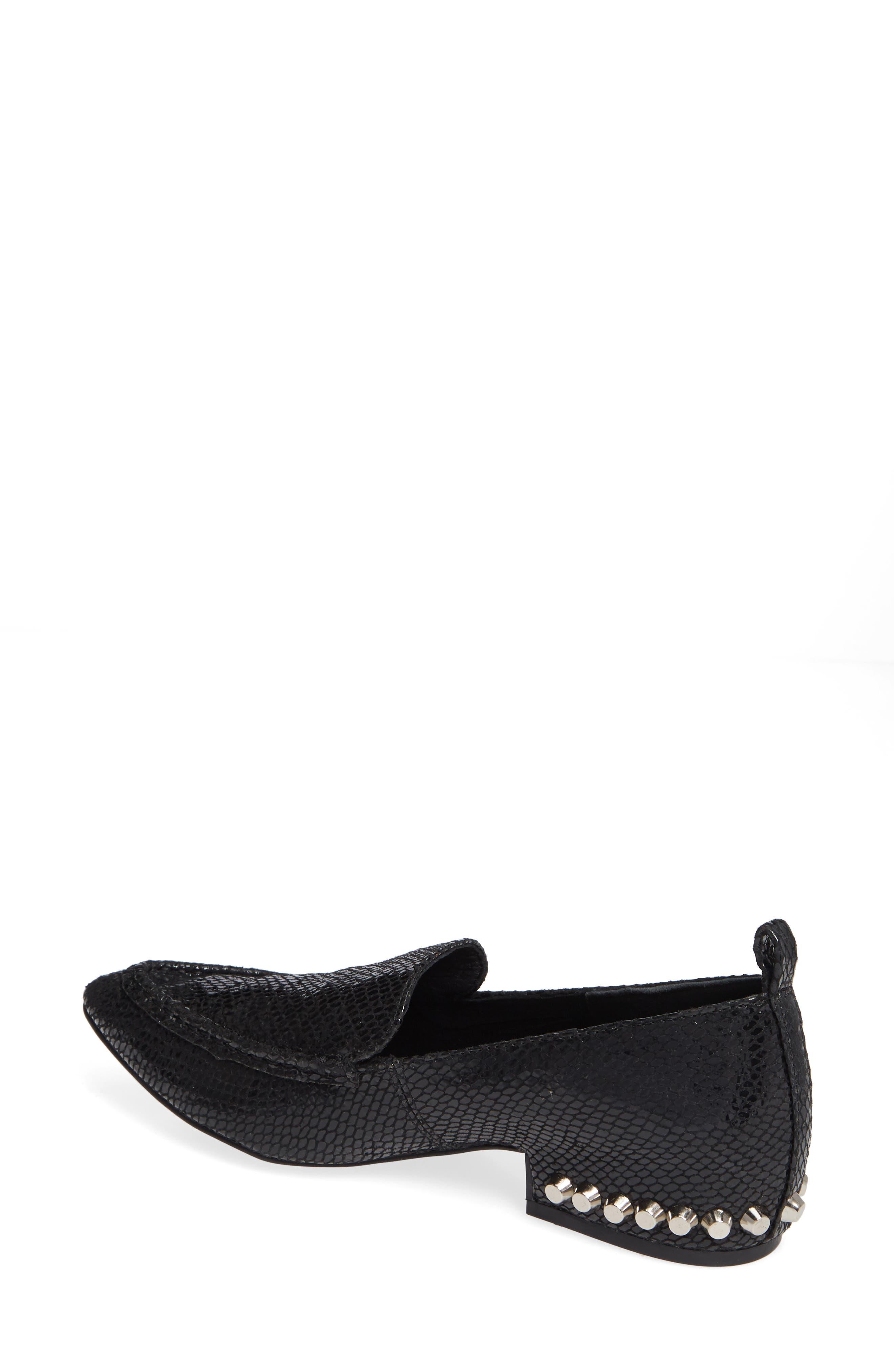Barnett Studded Loafer,                             Alternate thumbnail 2, color,                             BLACK SNAKE SILVER