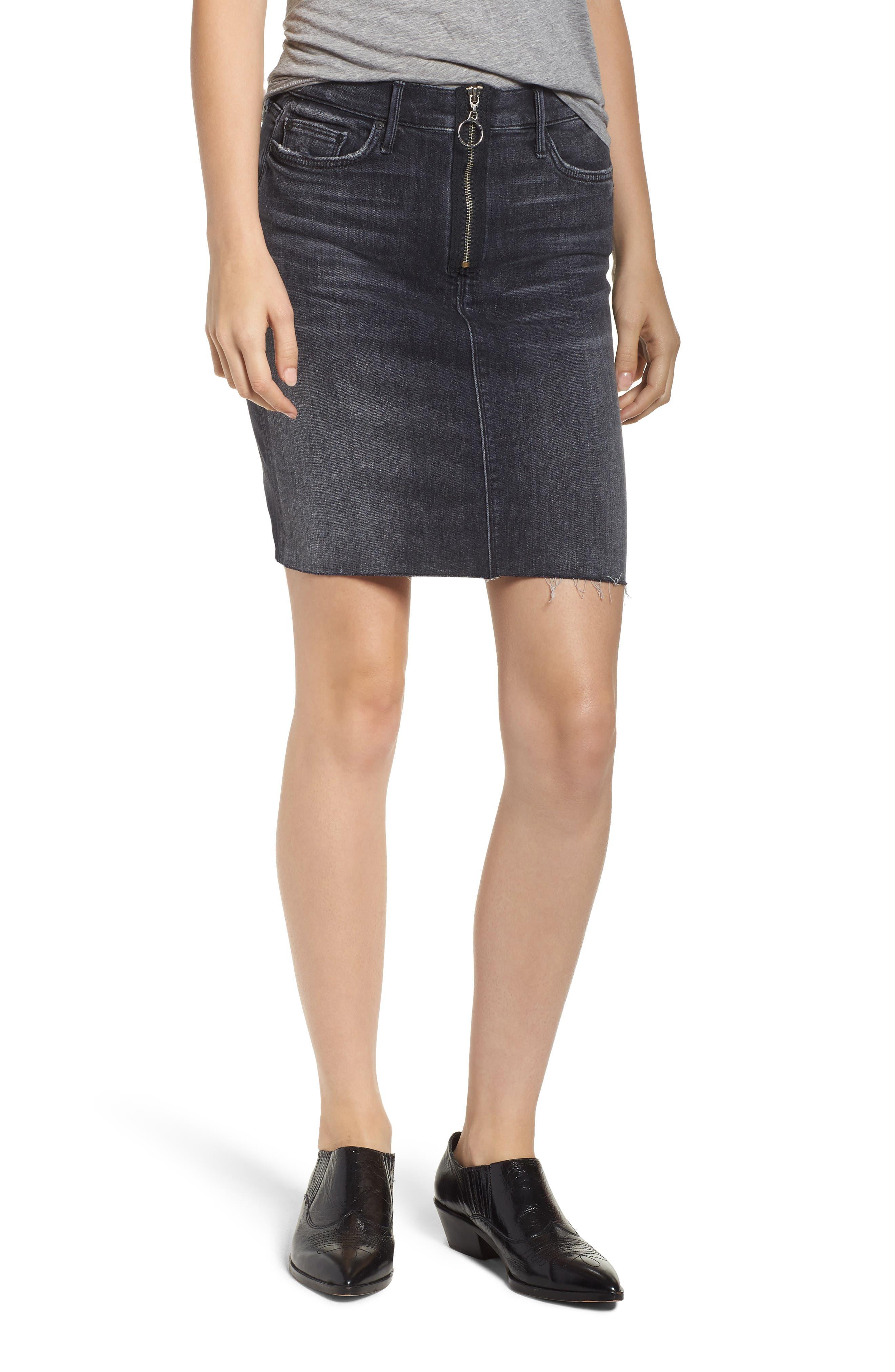 Swooner Exposed Zip Denim Miniskirt,                             Main thumbnail 1, color,                             LEAVE THE LIGHT ON