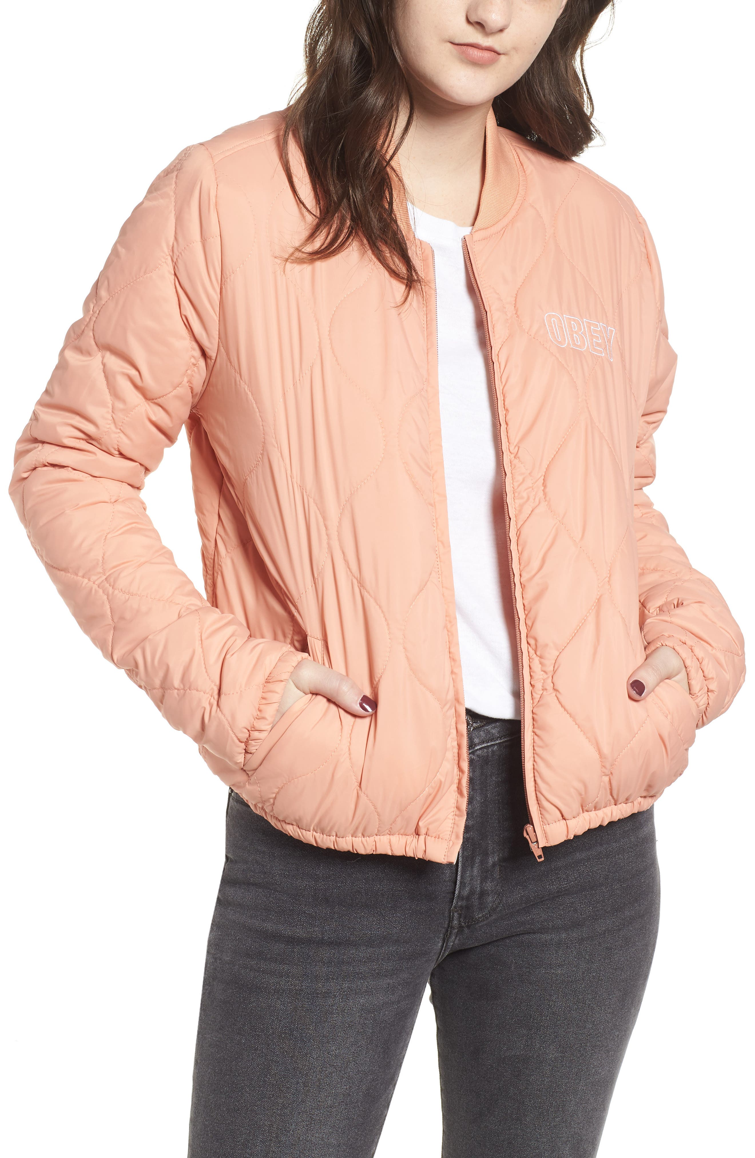 OBEY Bunker Quilted Bomber Jacket in Dusty Coral