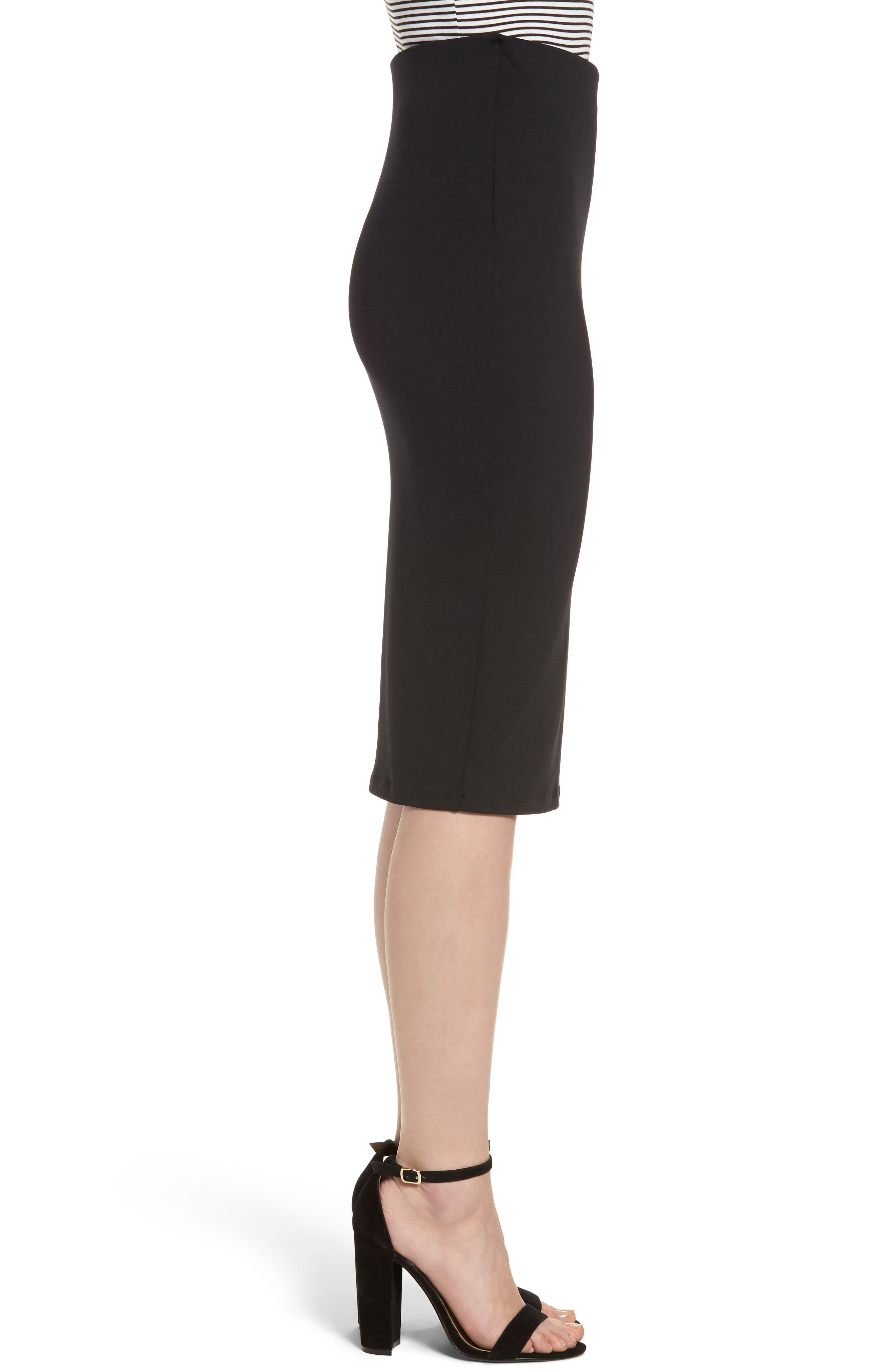 Tube High Rise Pencil Skirt,                             Alternate thumbnail 3, color,                             BLACK