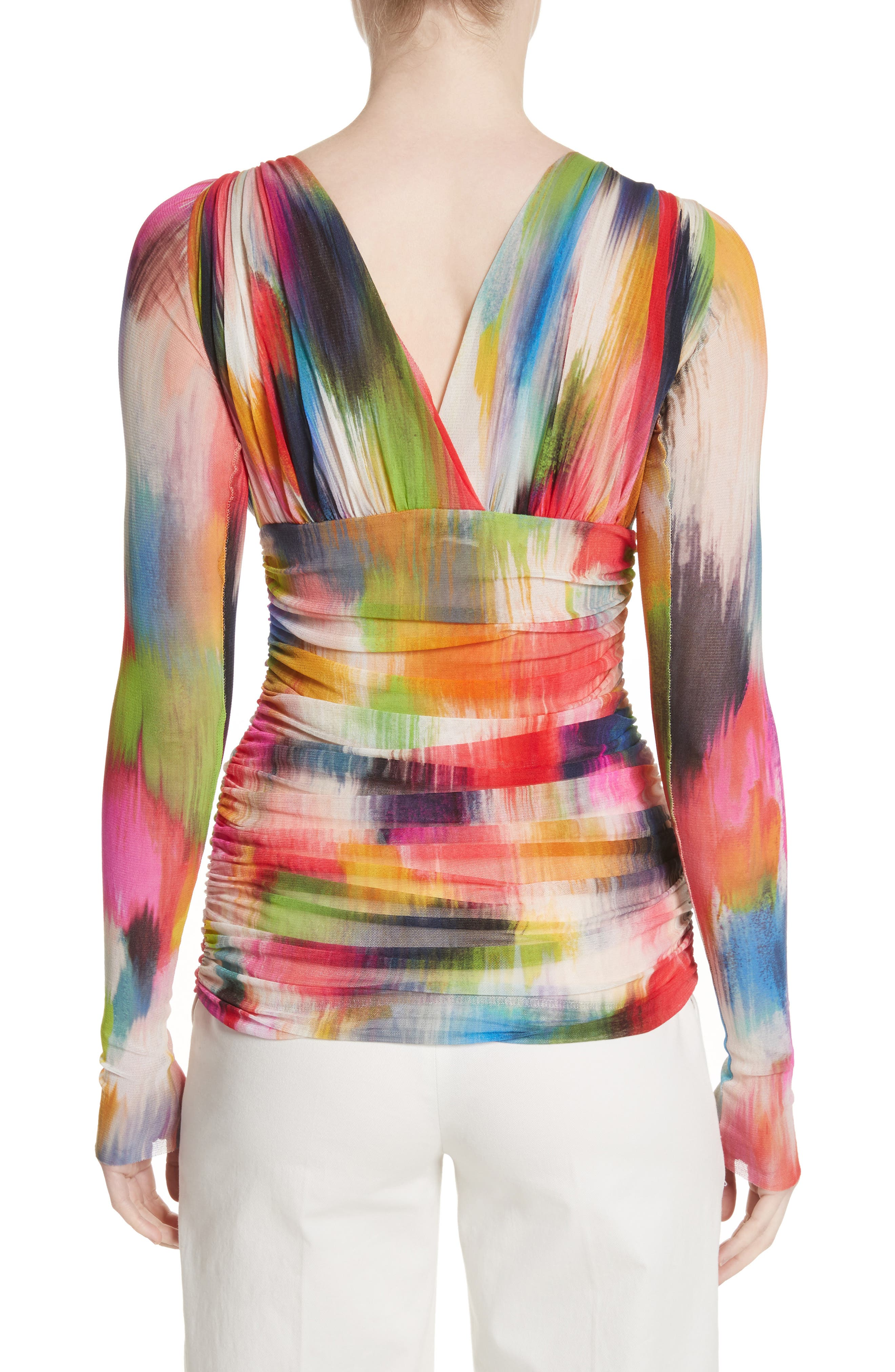 Brushstroke Print Ruched Tulle Top,                             Alternate thumbnail 3, color,