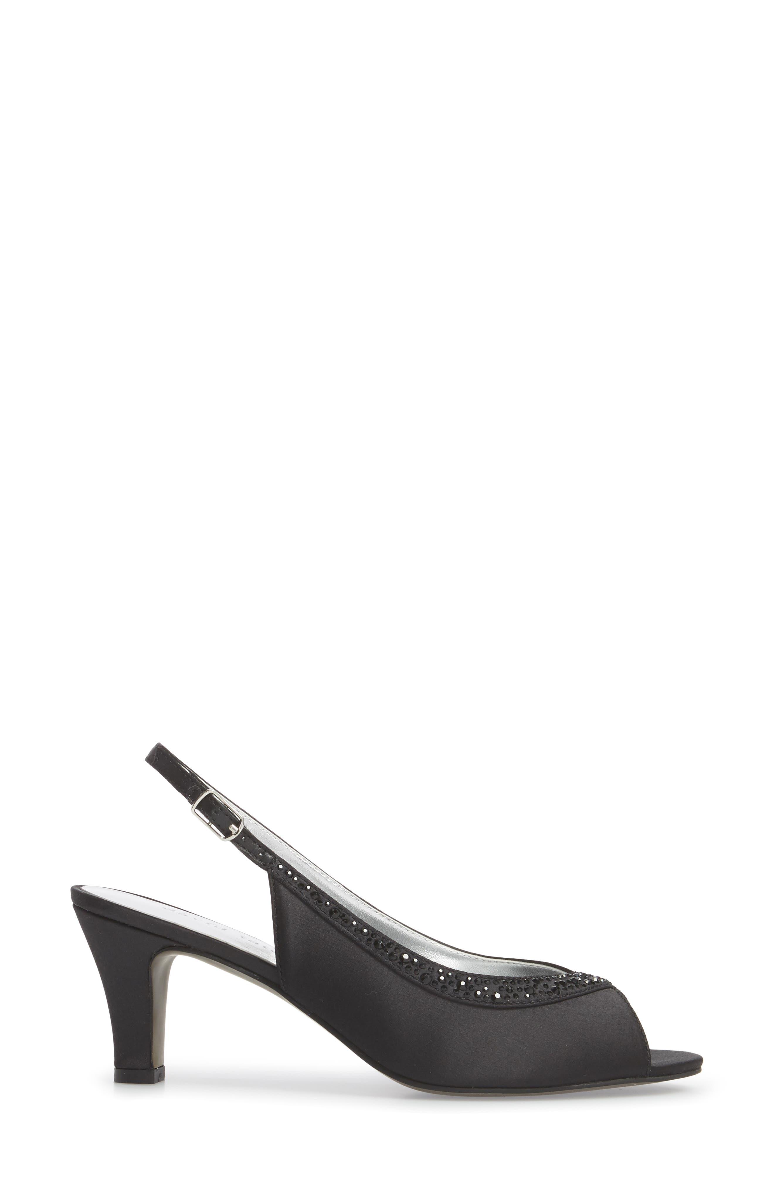 Dainty Slingback Sandal,                             Alternate thumbnail 3, color,                             BLACK SATIN