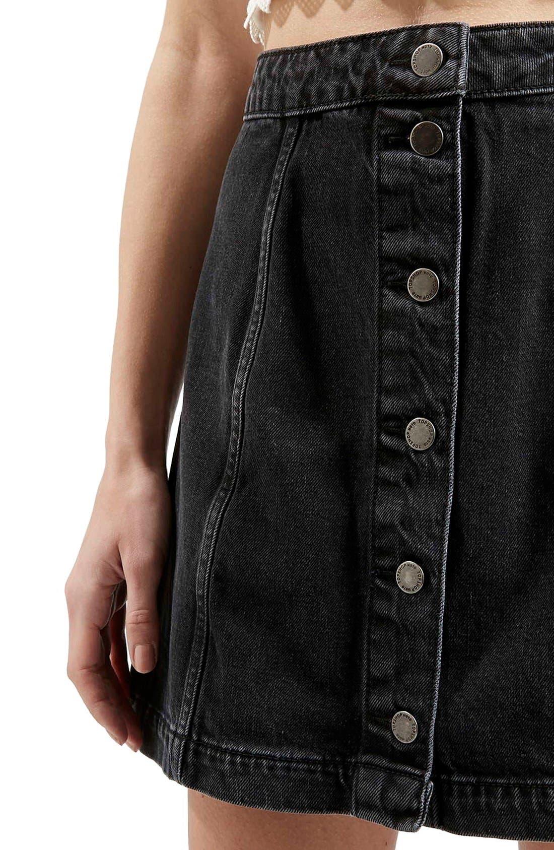 Button Front A-Line Denim Skirt,                             Alternate thumbnail 5, color,                             001