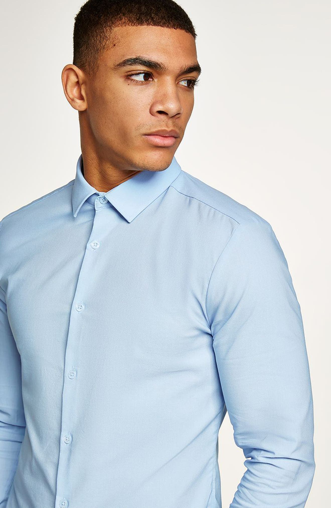 Muscle Fit Dress Shirt,                             Alternate thumbnail 4, color,                             LIGHT BLUE