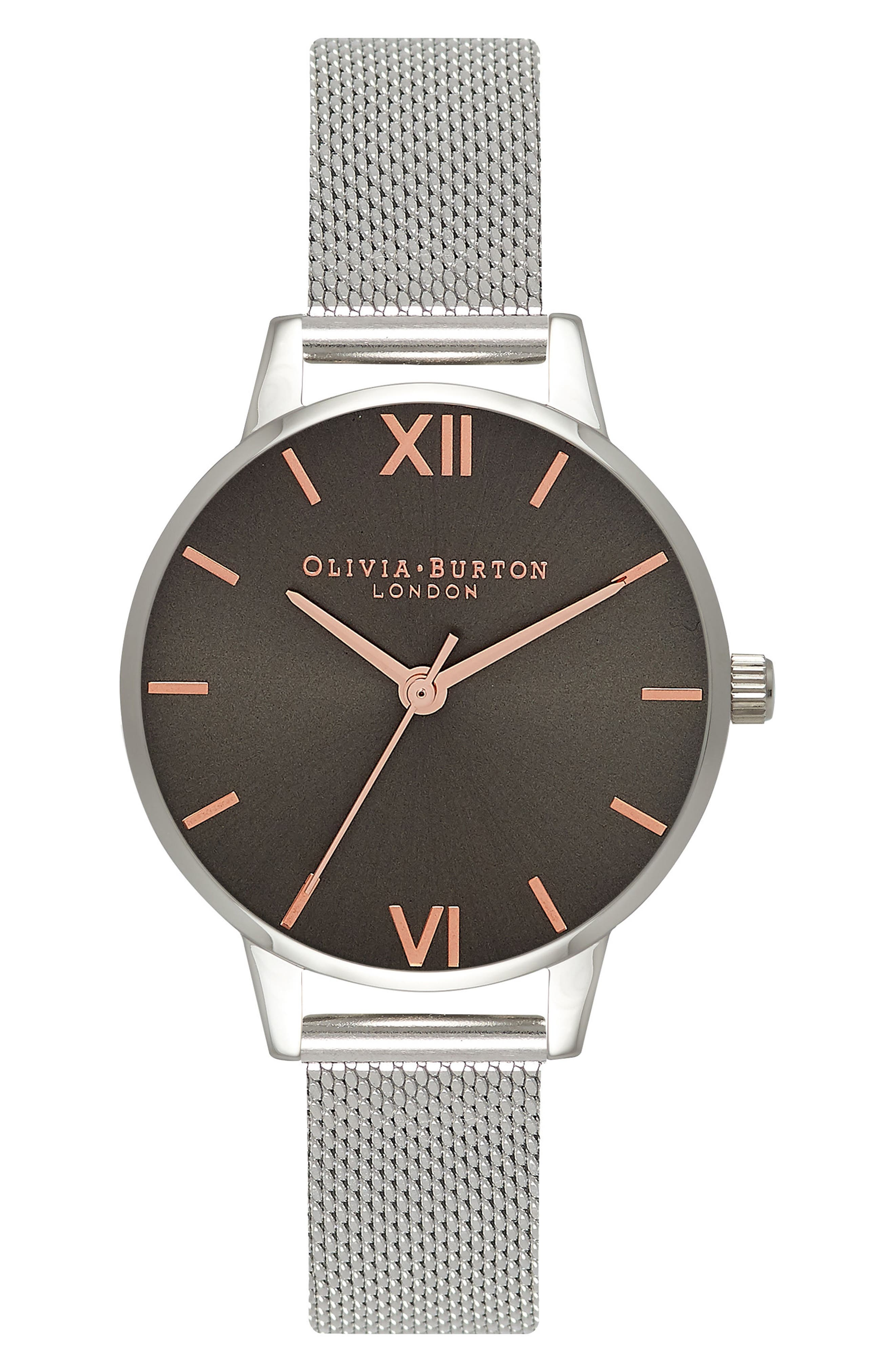 Round Mesh Strap Watch, 30mm,                         Main,                         color, 040
