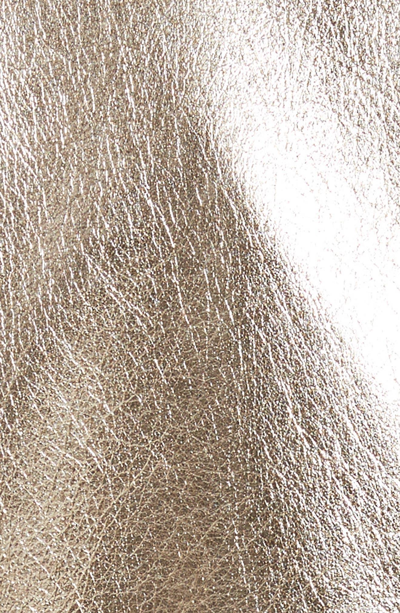 Foiled Metallic Leather Moto Jacket,                             Alternate thumbnail 6, color,