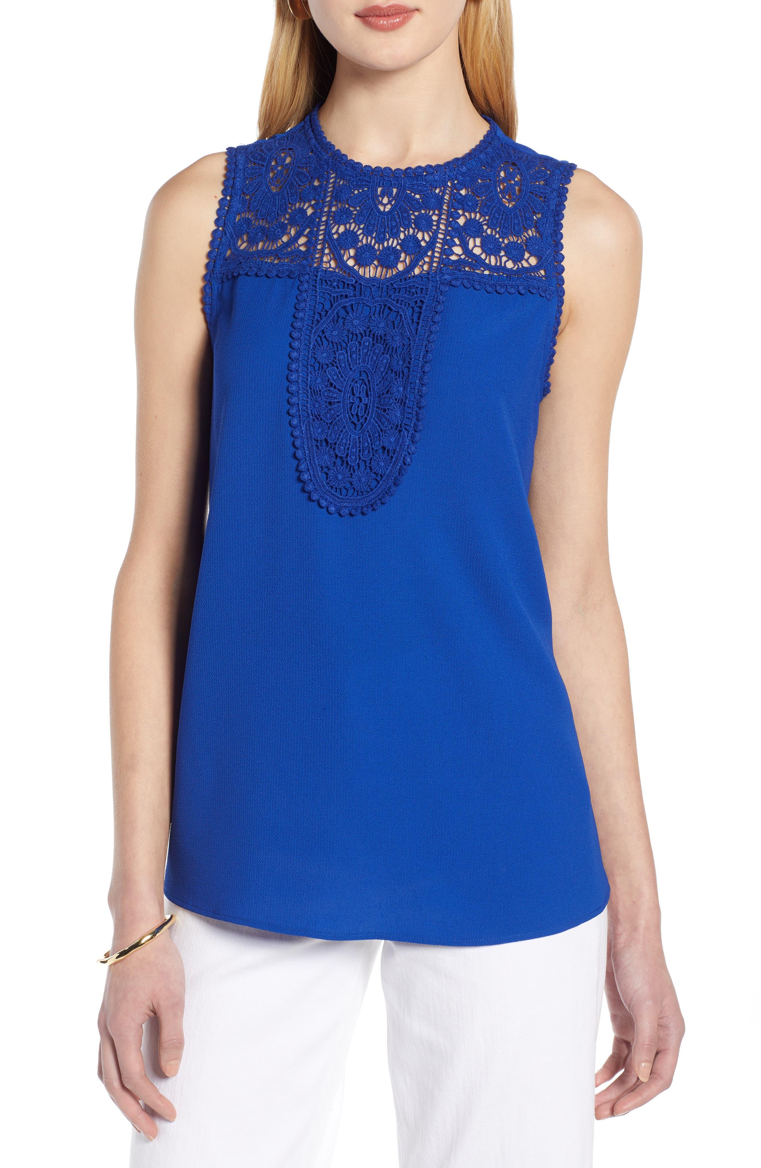 HALOGEN<SUP>®</SUP> Lace & Crepe Top, Main, color, ROYAL BLUE