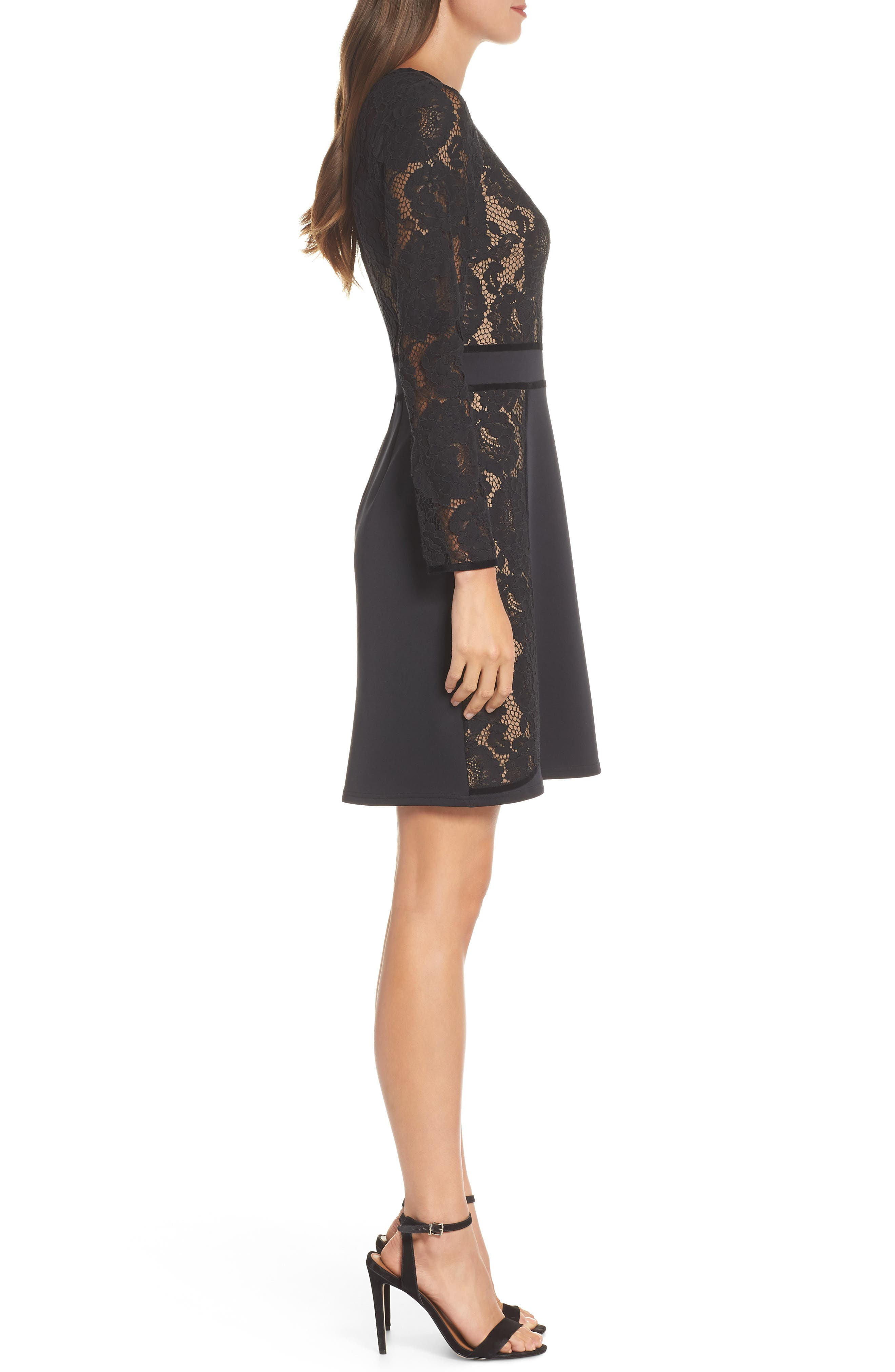 Embroidered Lace Dress,                             Alternate thumbnail 3, color,                             BLACK/ NUDE
