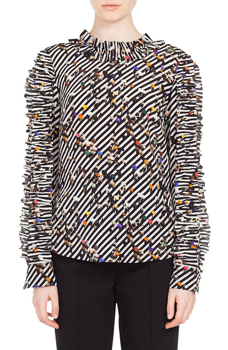 2dc81adfa51de0 AKRIS PUNTO. Ruched Long-Sleeve Round-Neck Crossroad-Print Silk Blouse ...