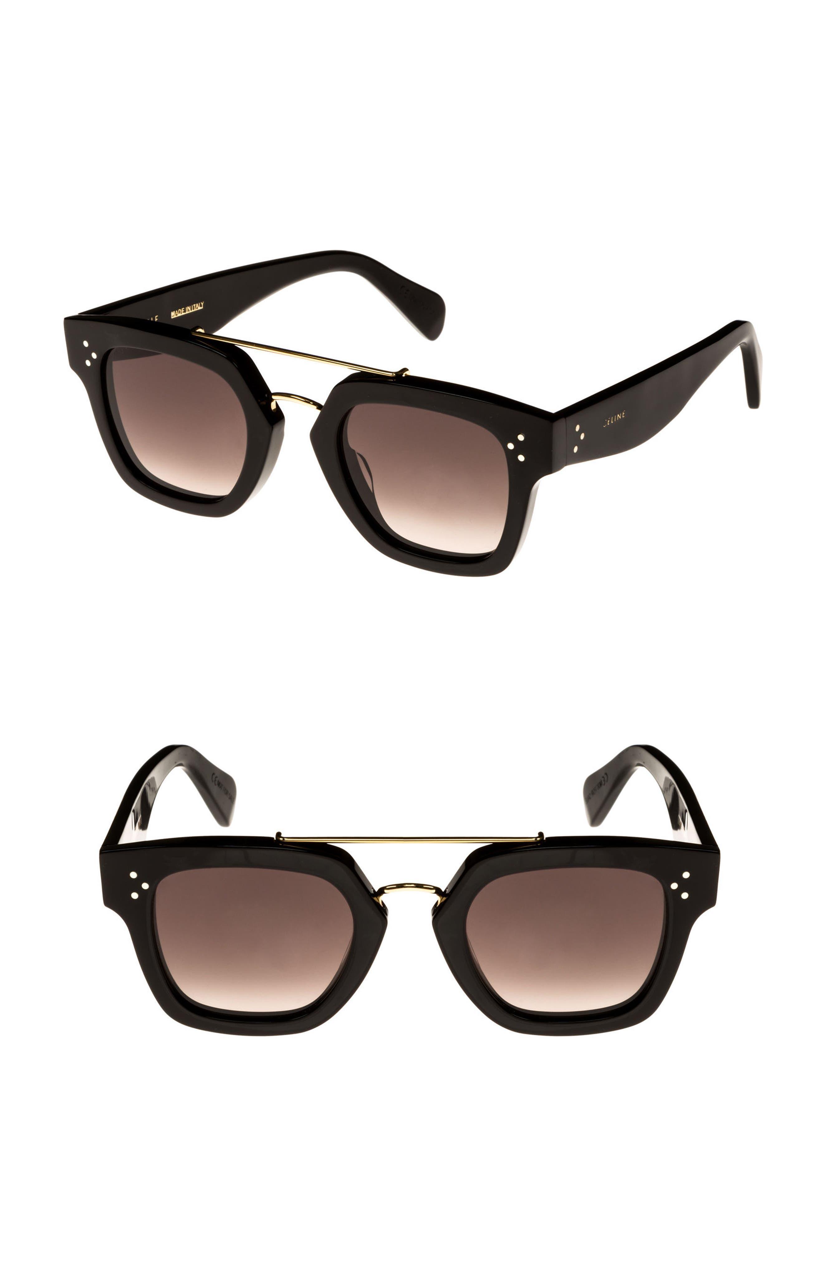 47mm Gradient Square Sunglasses,                             Main thumbnail 1, color,                             001
