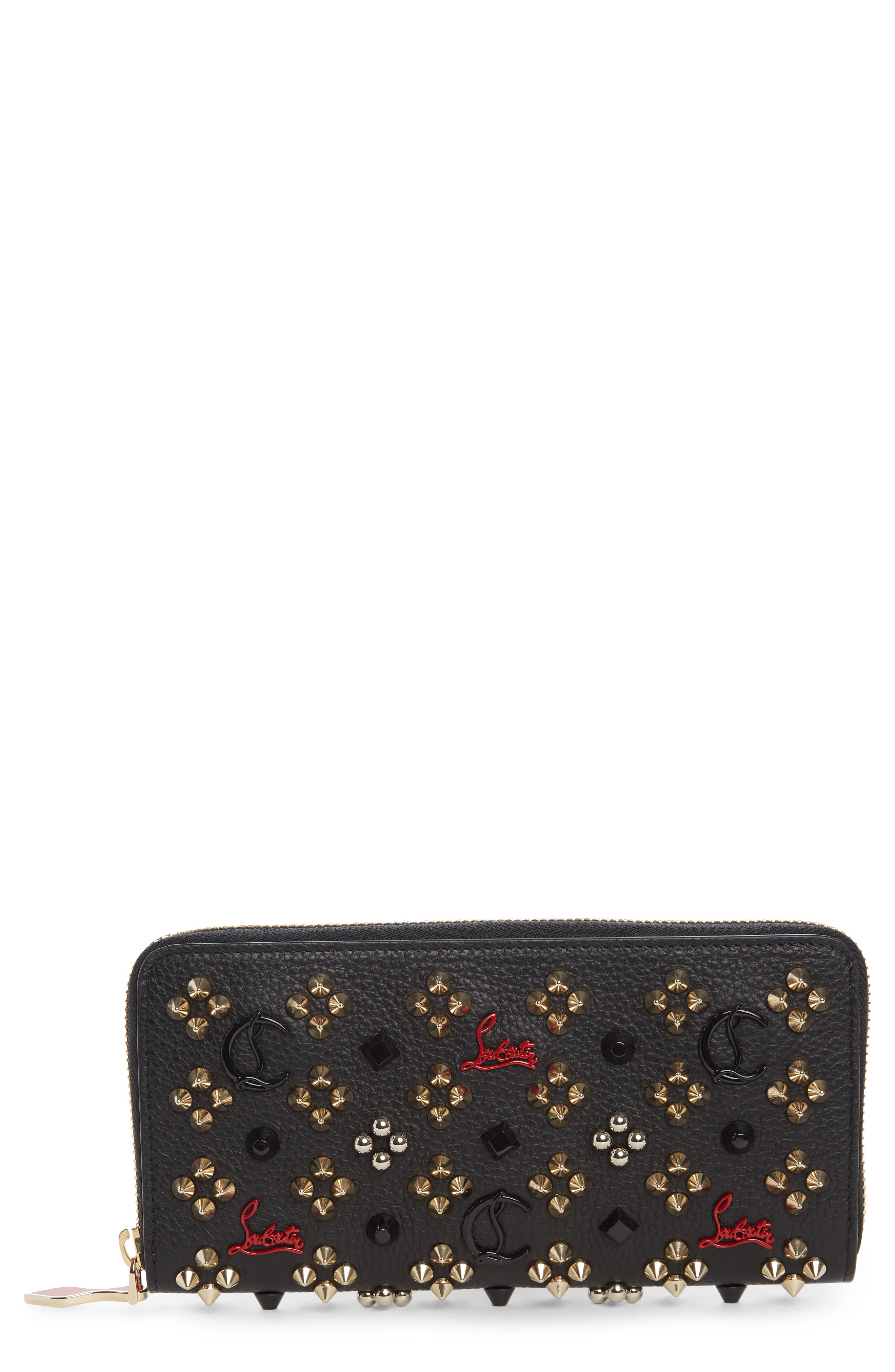 Panettone Spiked Calfskin Wallet,                             Main thumbnail 1, color,                             BLACK/ RED-GOLD