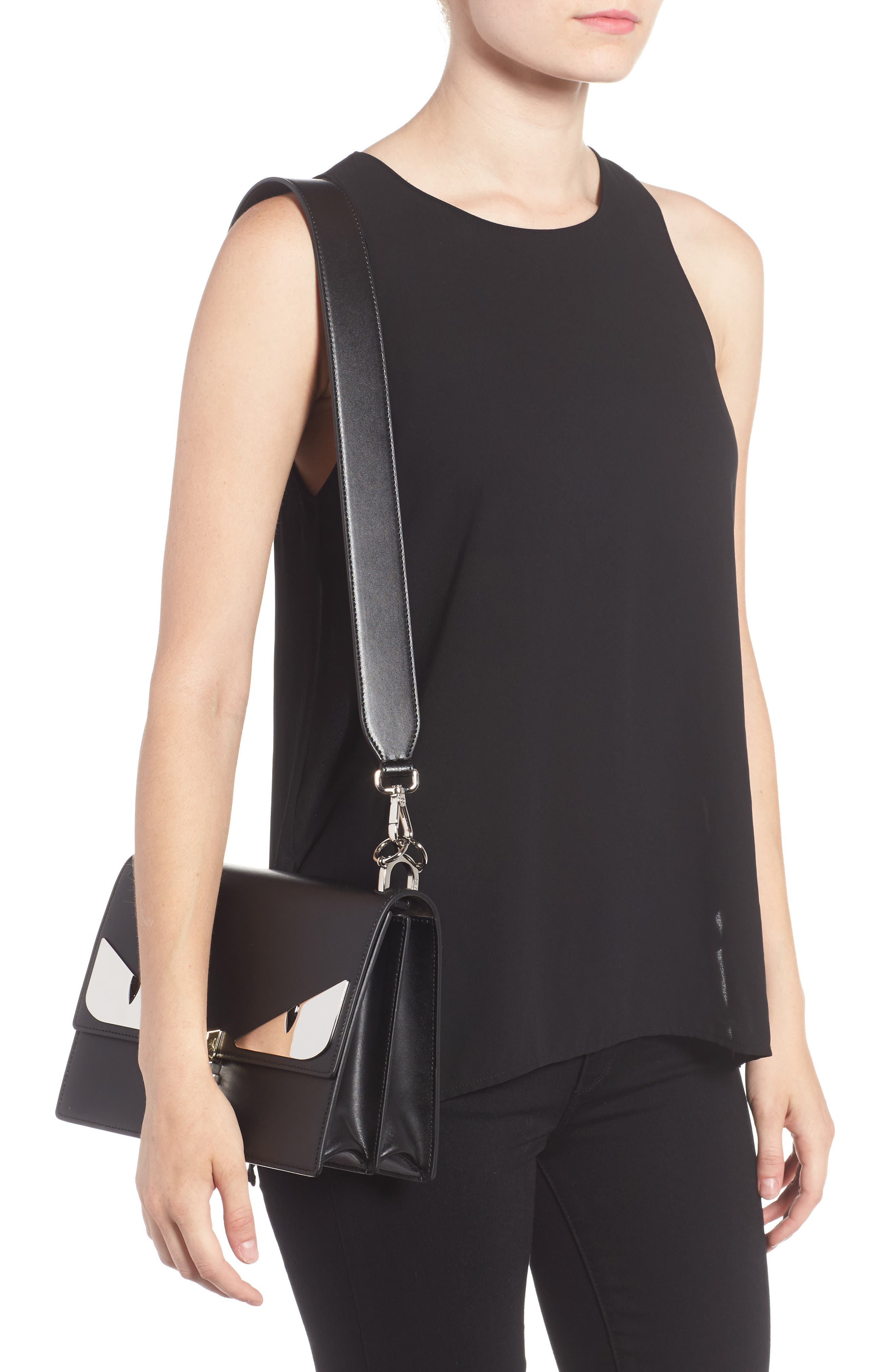 Kan I Monster Calfskin Leather Shoulder Bag,                             Alternate thumbnail 2, color,                             BLACK PALLADIUM