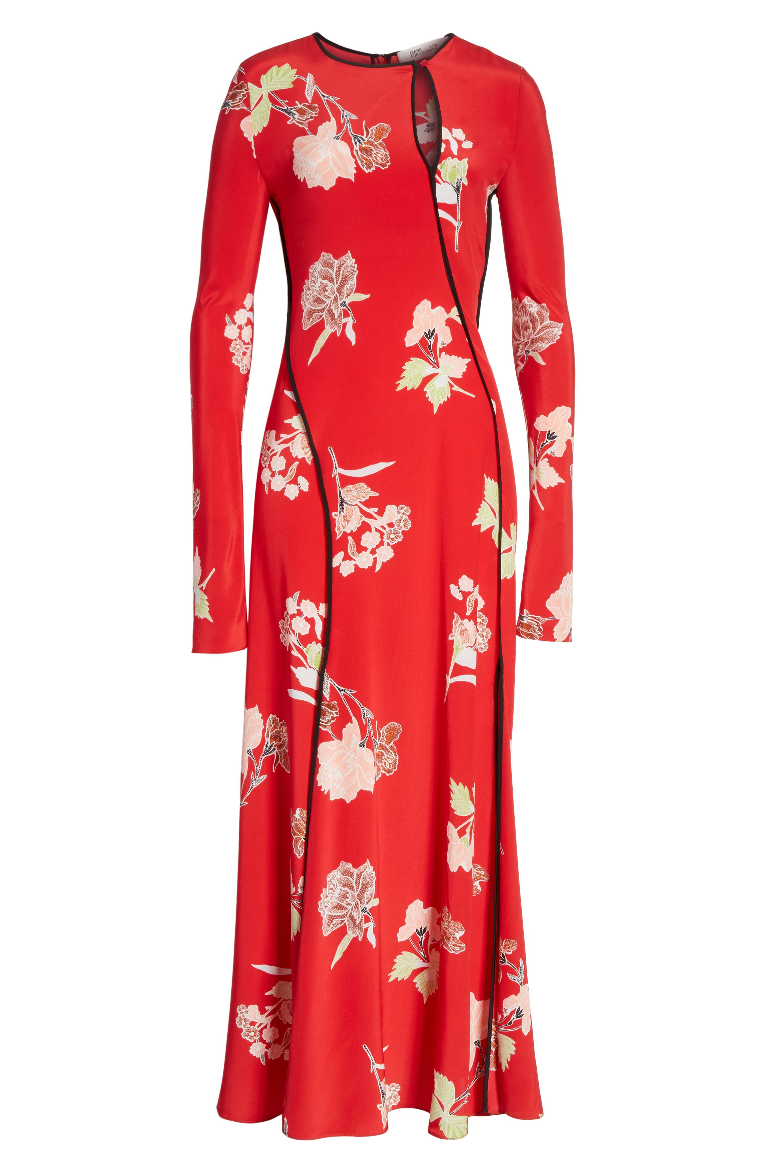 Bias Cut Floral Silk Maxi Dress,                             Alternate thumbnail 5, color,                             616