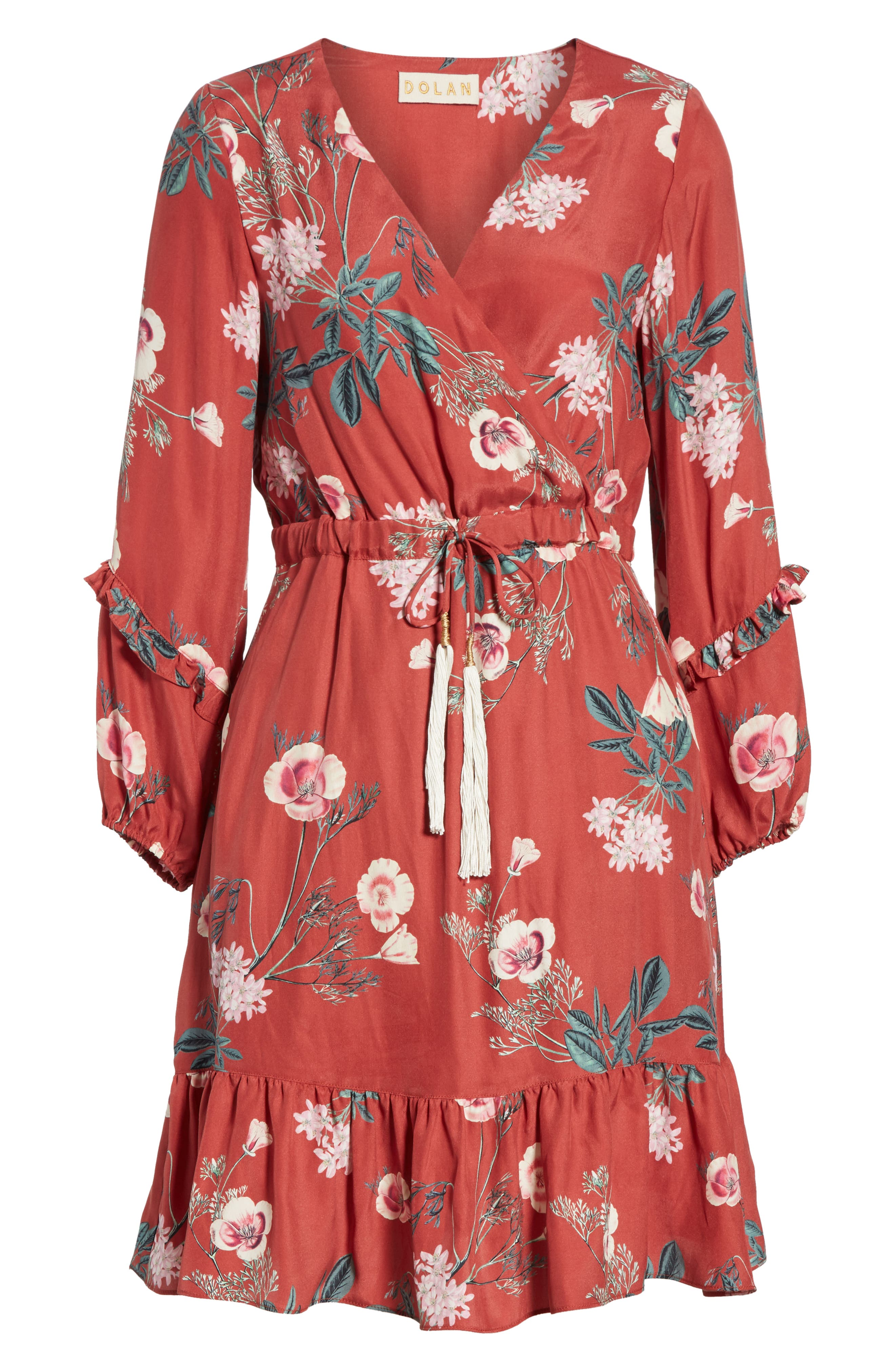 Floral Faux Wrap Silk Dress,                             Alternate thumbnail 7, color,                             RED BLOSSOM FLORAL