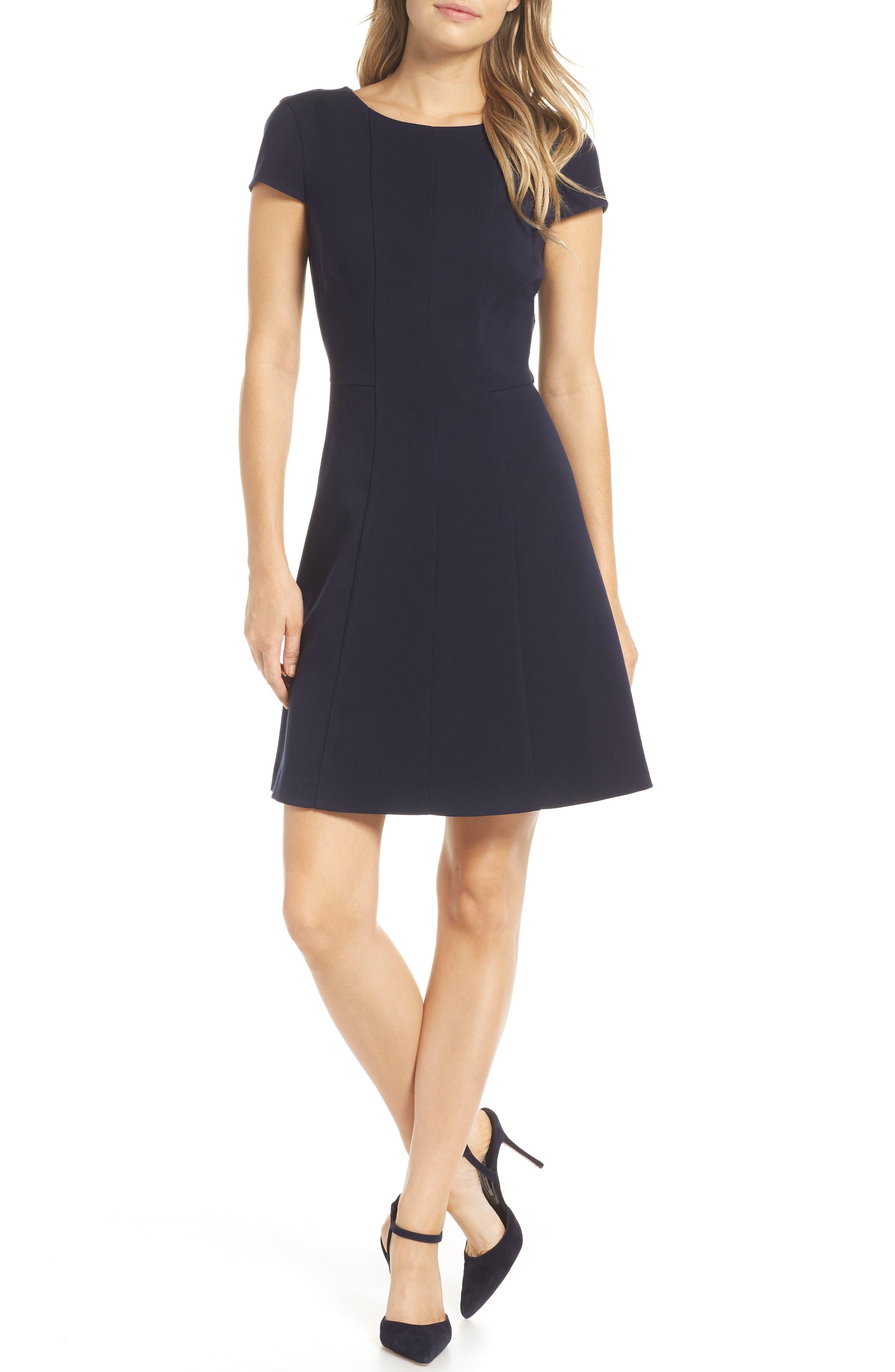 Cap Sleeve Fit & Flare Dress,                             Main thumbnail 1, color,                             NAVY