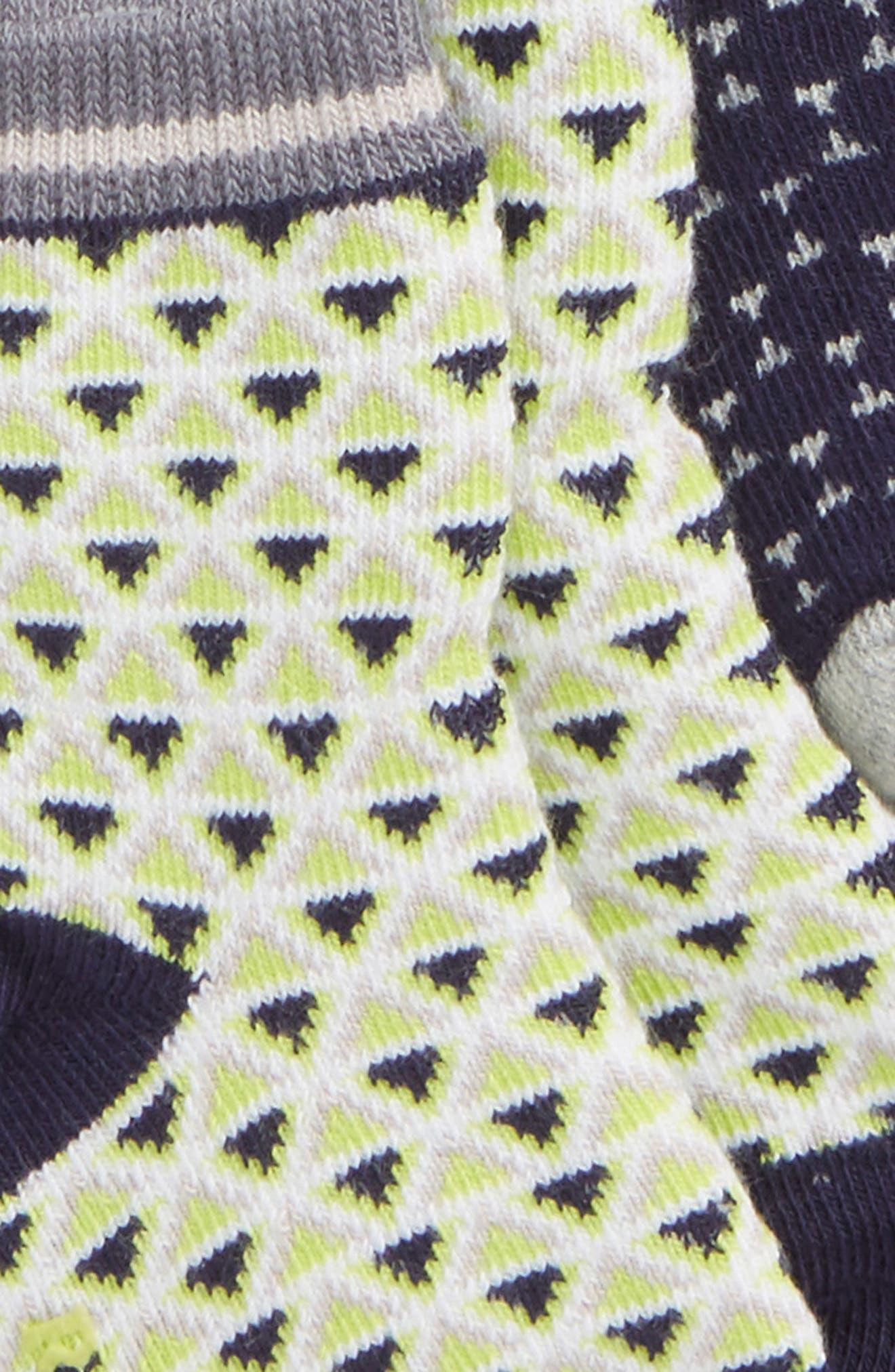 Geo 3-Pack Socks,                             Alternate thumbnail 2, color,                             GRAY/ NAVY/ LIME