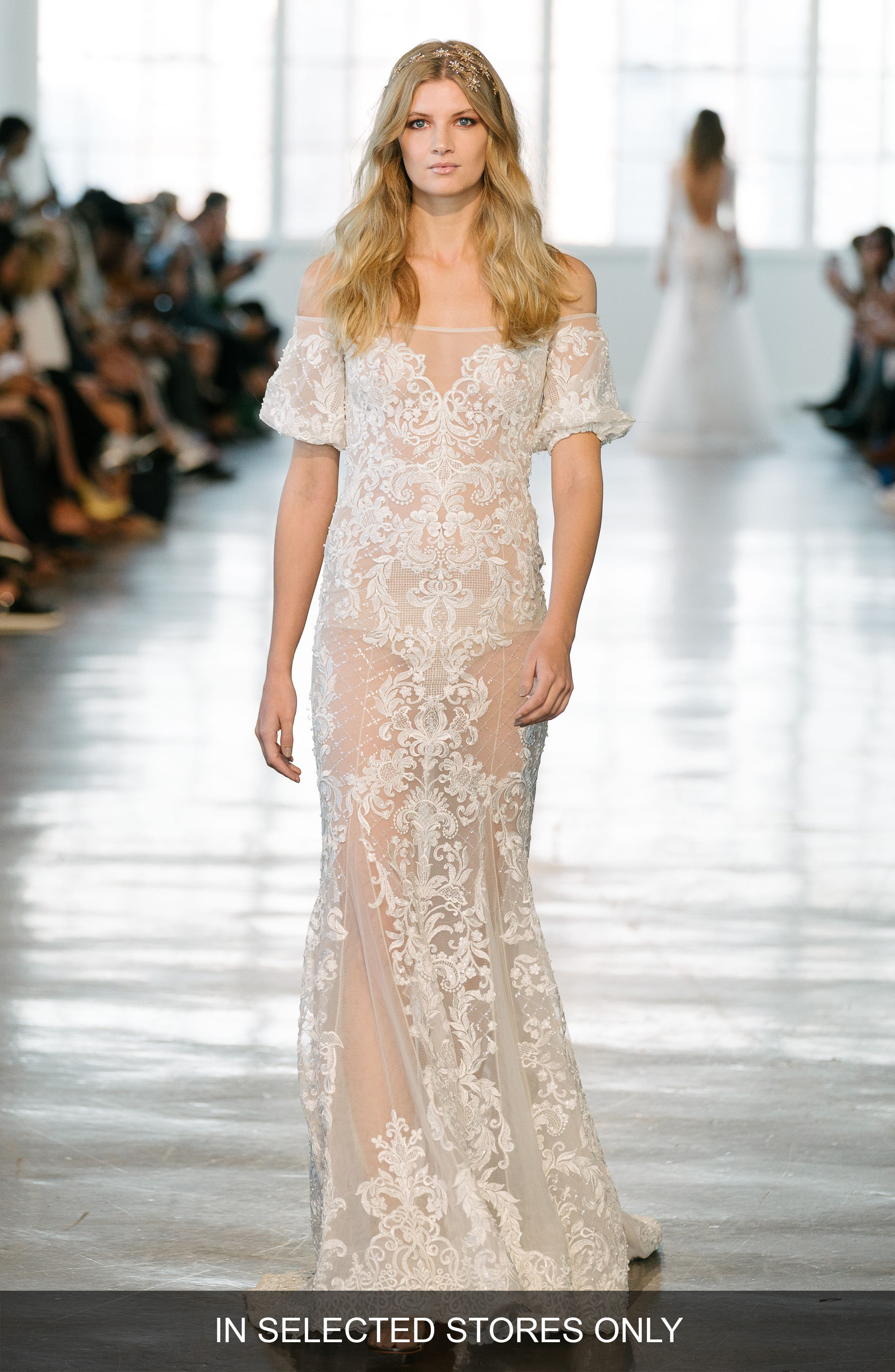 Lace Off the Shoulder Mermaid Gown,                         Main,                         color, IVORY