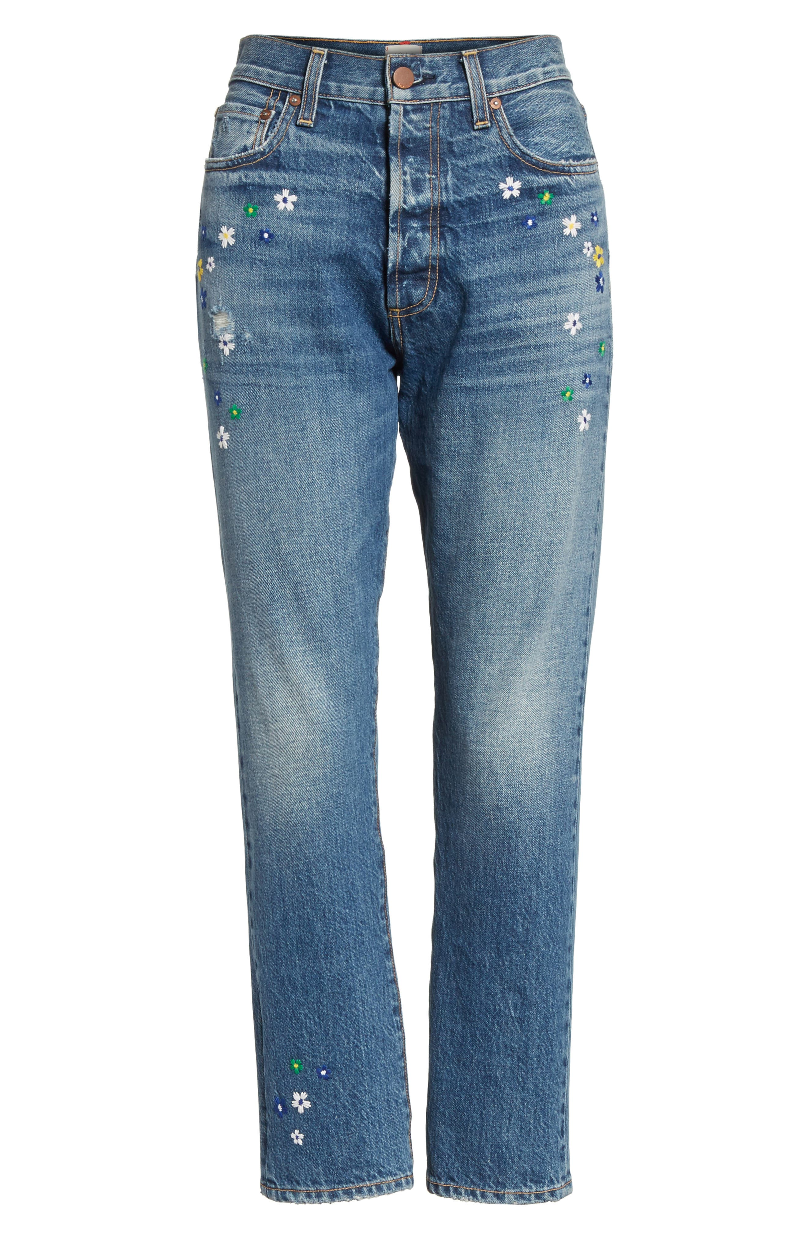 AO.LA Amazing Embroidered Slim Girlfriend Jeans,                             Alternate thumbnail 6, color,                             496