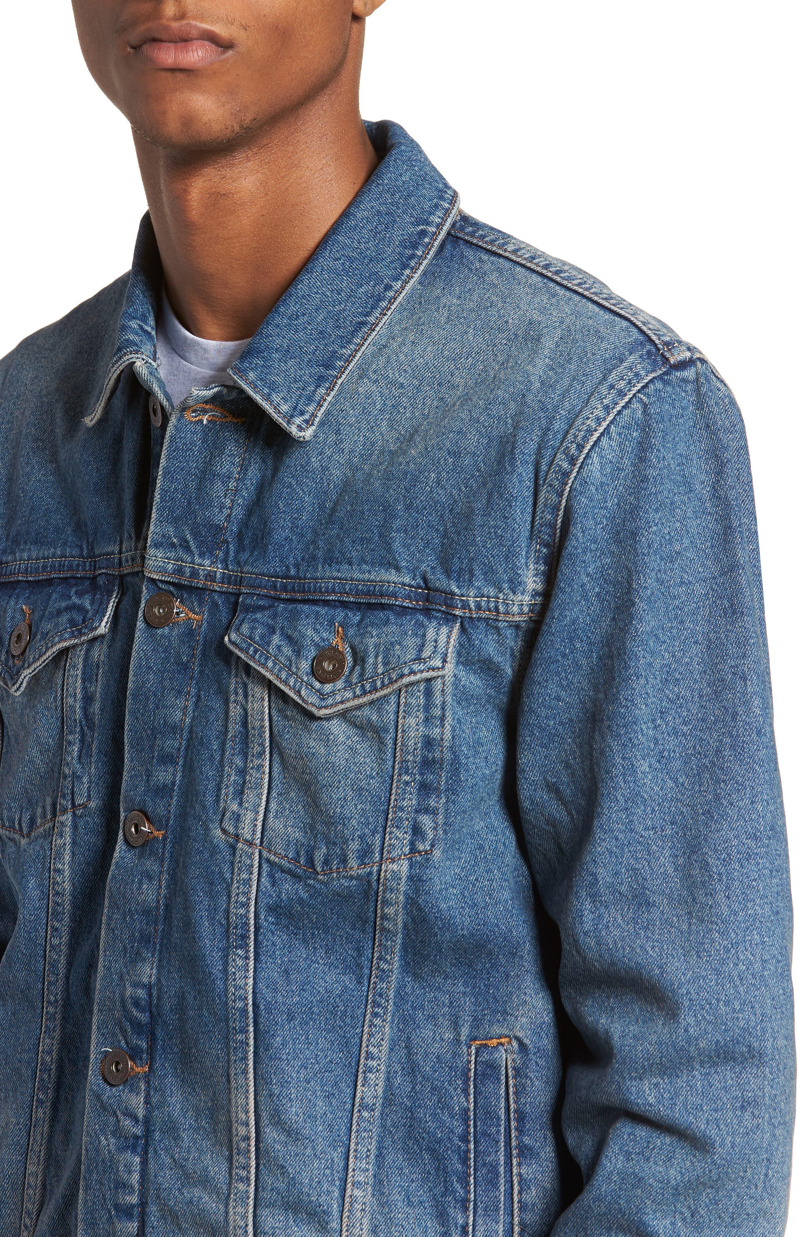 Mid Wash Denim Jacket,                             Alternate thumbnail 4, color,                             420