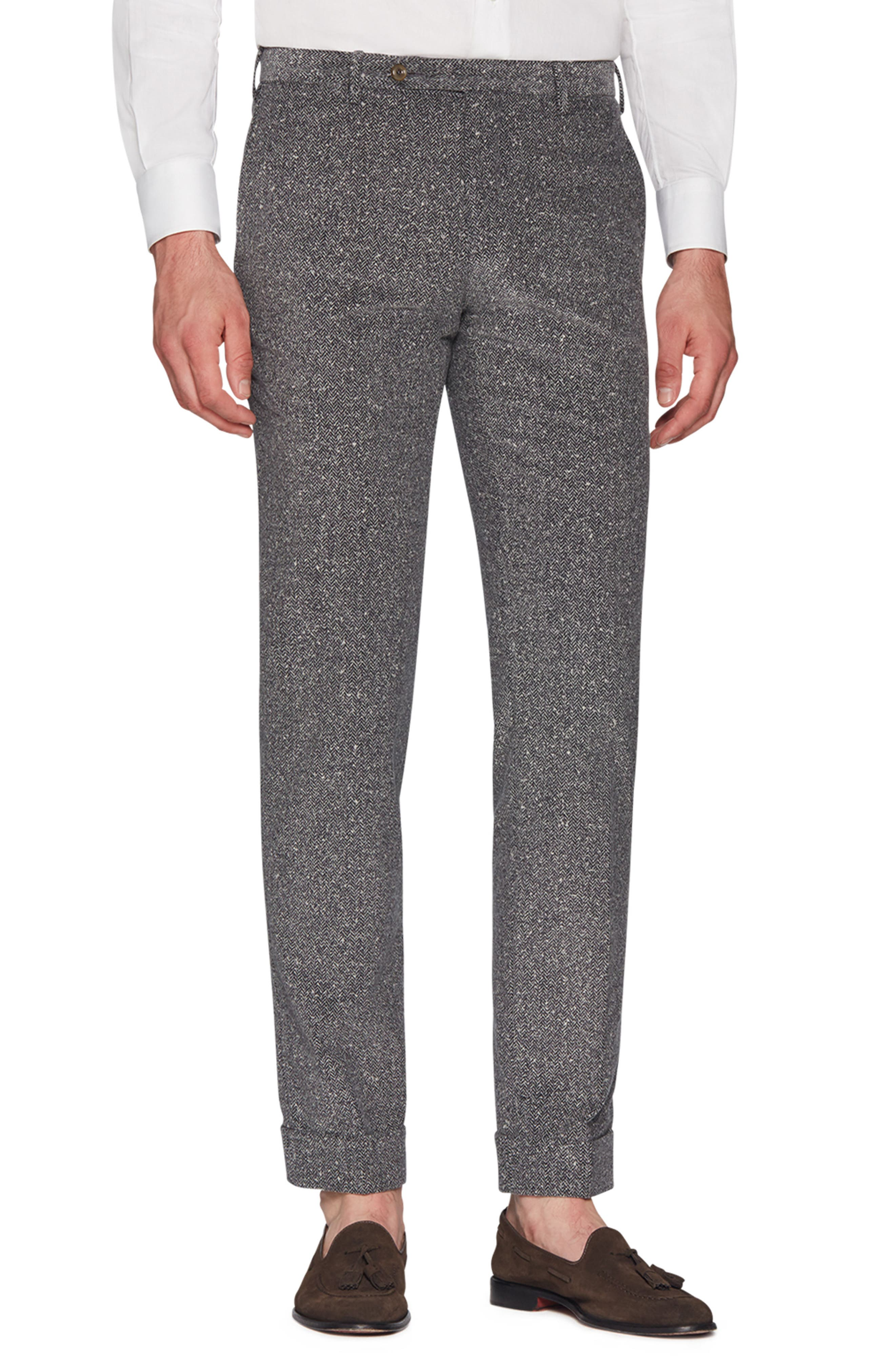 Curtis Flat Front Herringbone Cotton Trousers,                         Main,                         color, MID GREY