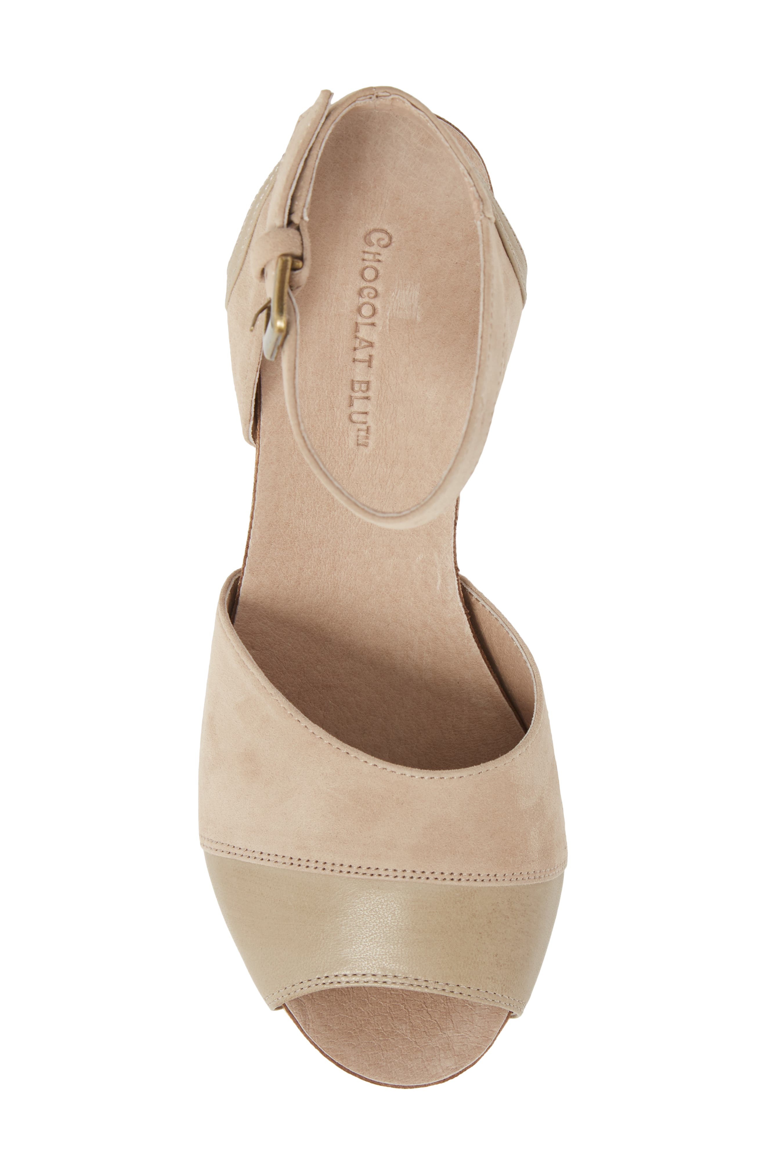 Chocolate Blu Welby Ankle Strap Wedge Sandal,                             Alternate thumbnail 5, color,                             TAUPE SUEDE